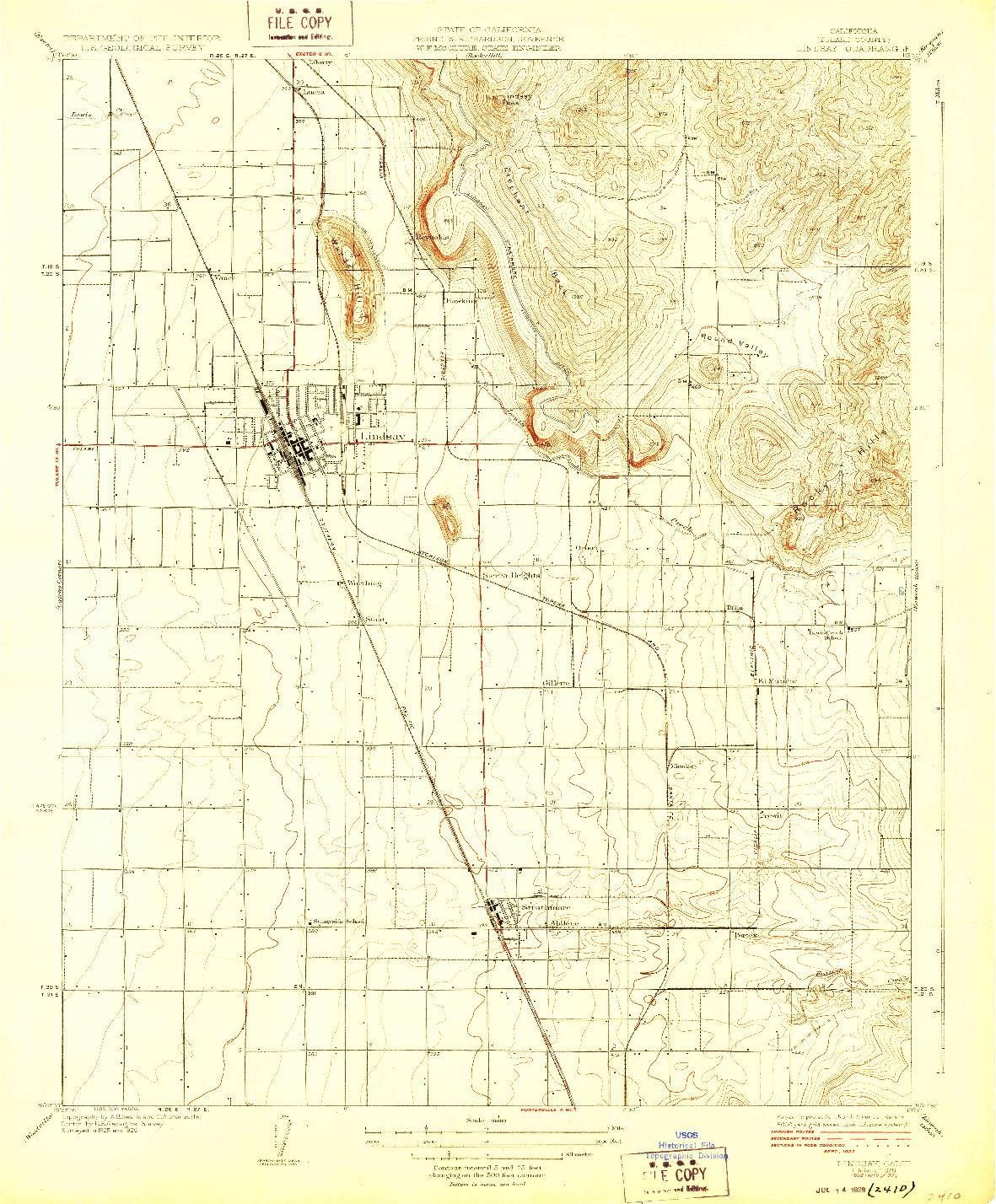 USGS 1:31680-SCALE QUADRANGLE FOR LINDSAY, CA 1928