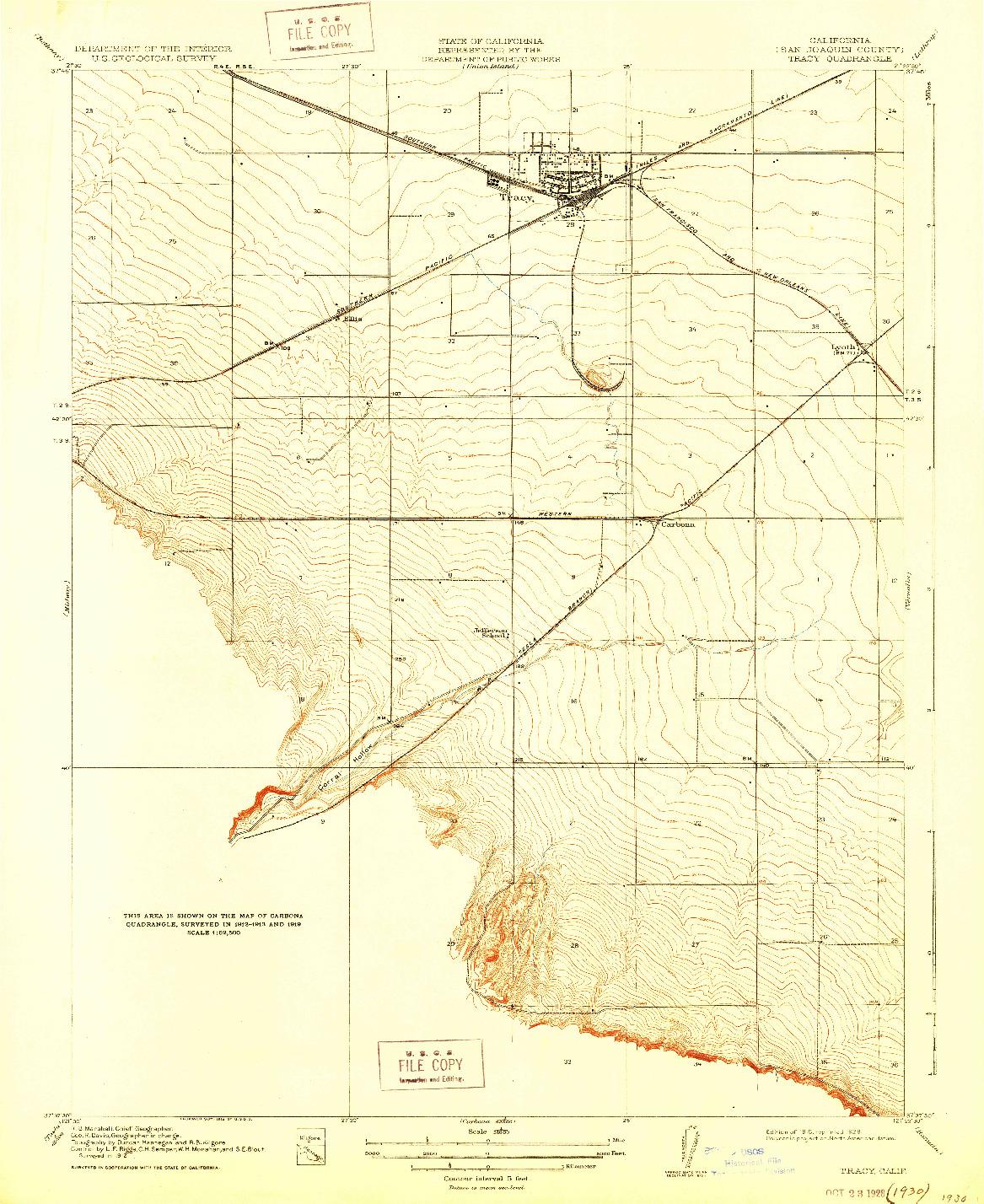 USGS 1:31680-SCALE QUADRANGLE FOR TRACY, CA 1916