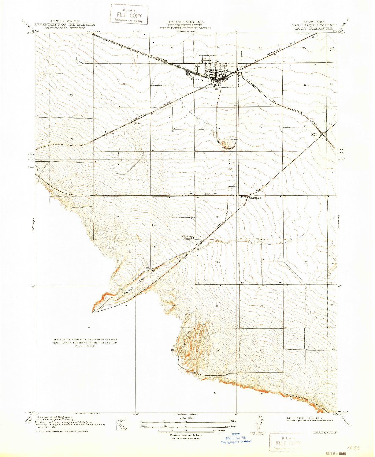 USGS 1:31680-SCALE QUADRANGLE FOR TRACY, CA 1916