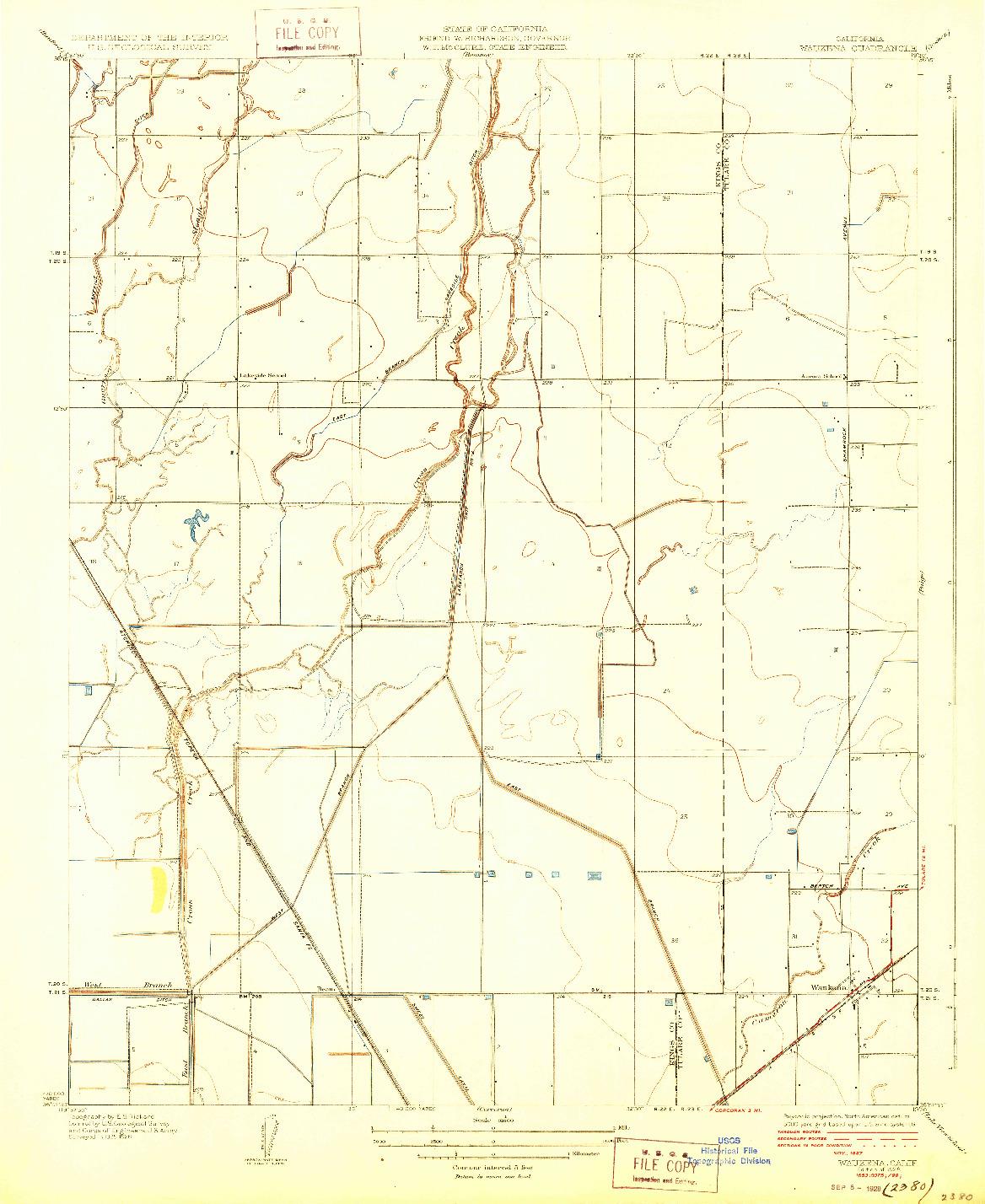 USGS 1:31680-SCALE QUADRANGLE FOR WAUKENA, CA 1928