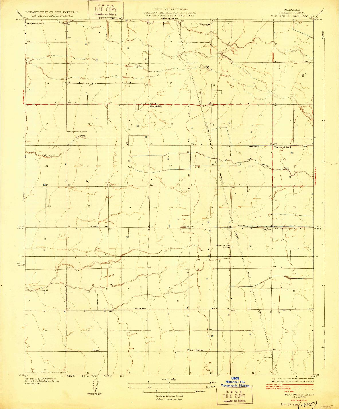 USGS 1:31680-SCALE QUADRANGLE FOR WOODVILLE, CA 1928