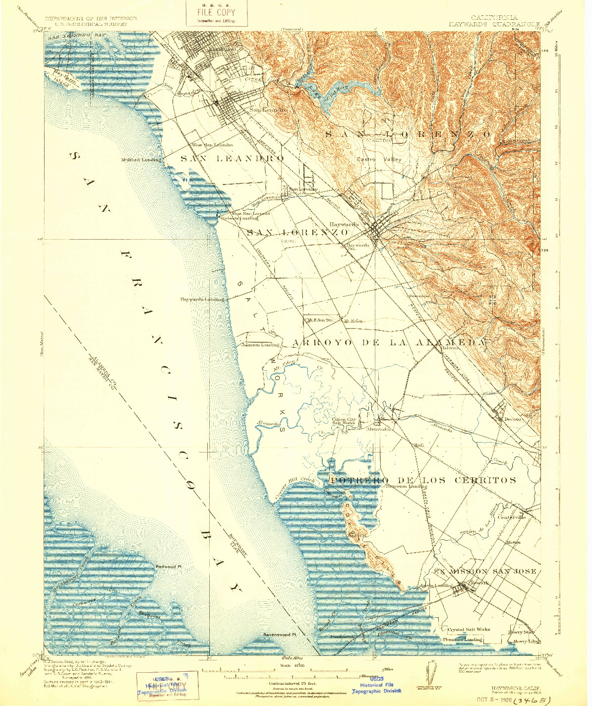 USGS 1:62500-SCALE QUADRANGLE FOR HAYWARDS, CA 1915