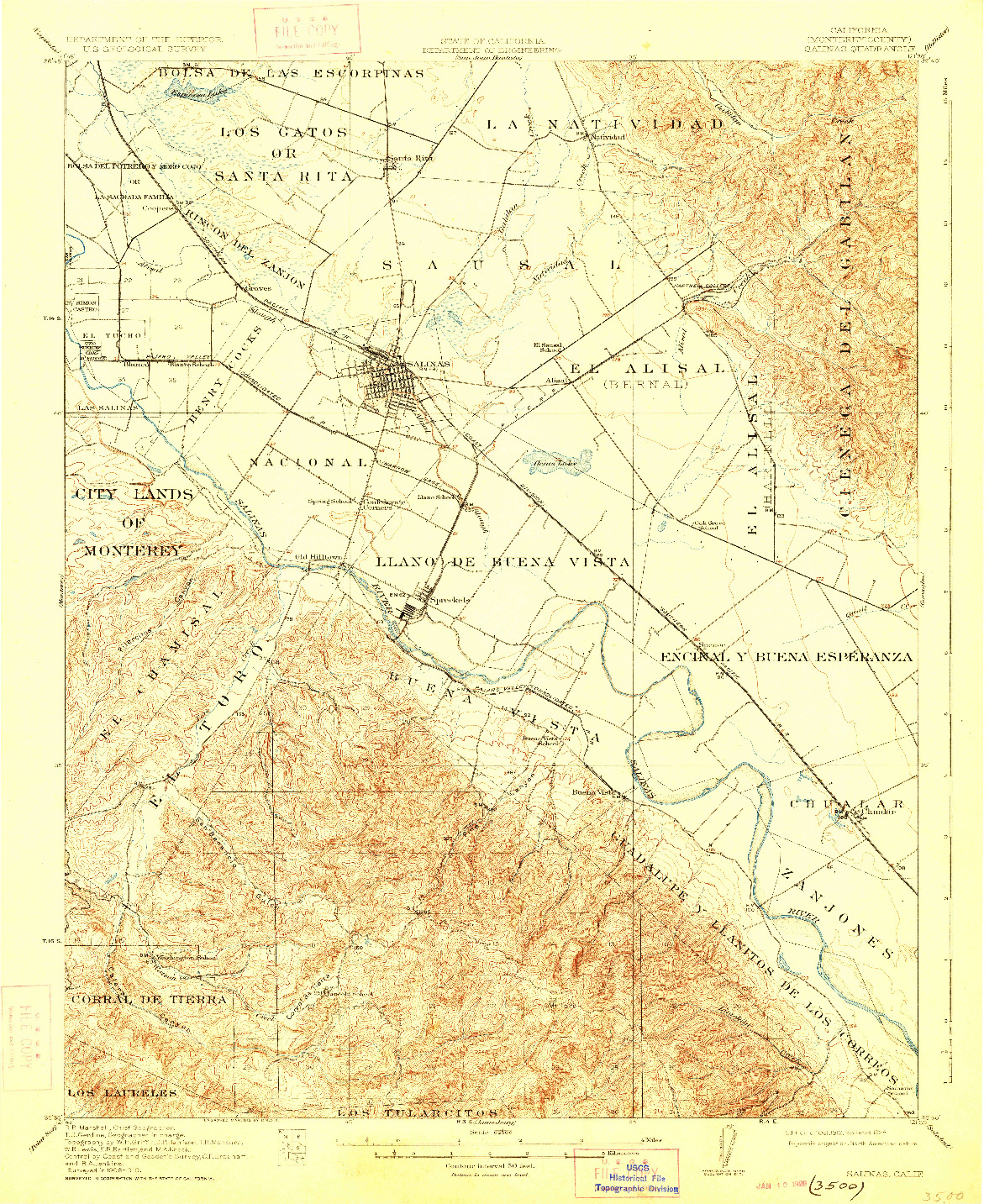 USGS 1:62500-SCALE QUADRANGLE FOR SALINAS, CA 1912