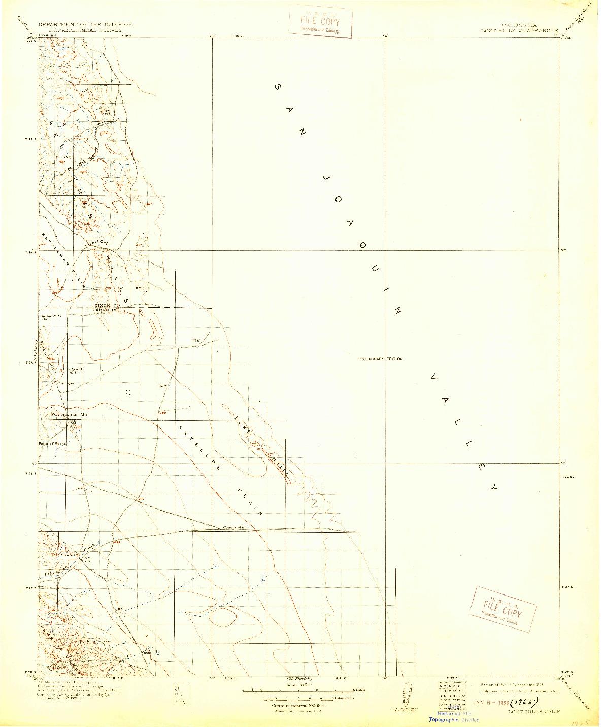 USGS 1:125000-SCALE QUADRANGLE FOR LOST HILLS, CA 1914