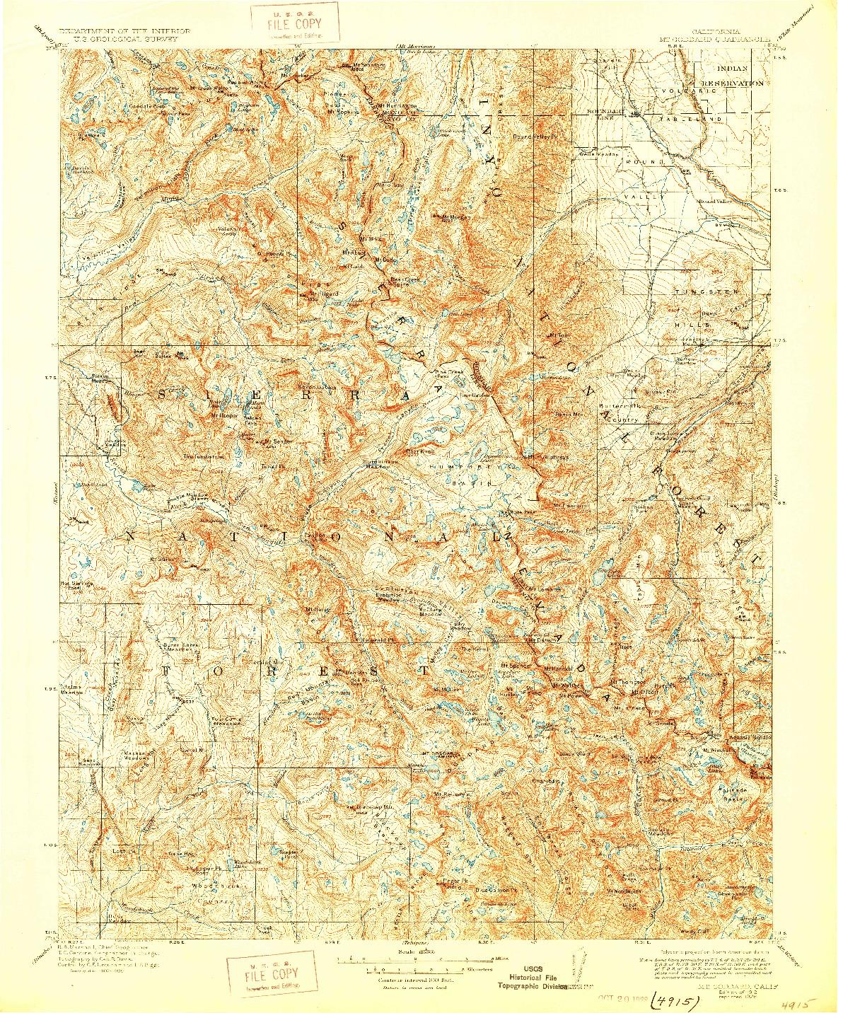 USGS 1:125000-SCALE QUADRANGLE FOR MT. GODDARD, CA 1912