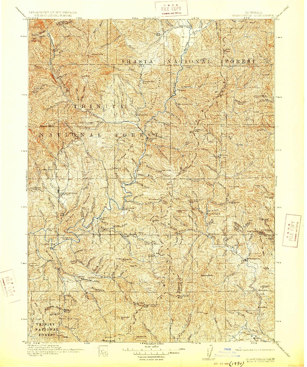 USGS 1:125000-SCALE QUADRANGLE FOR WEAVERVILLE, CA 1913