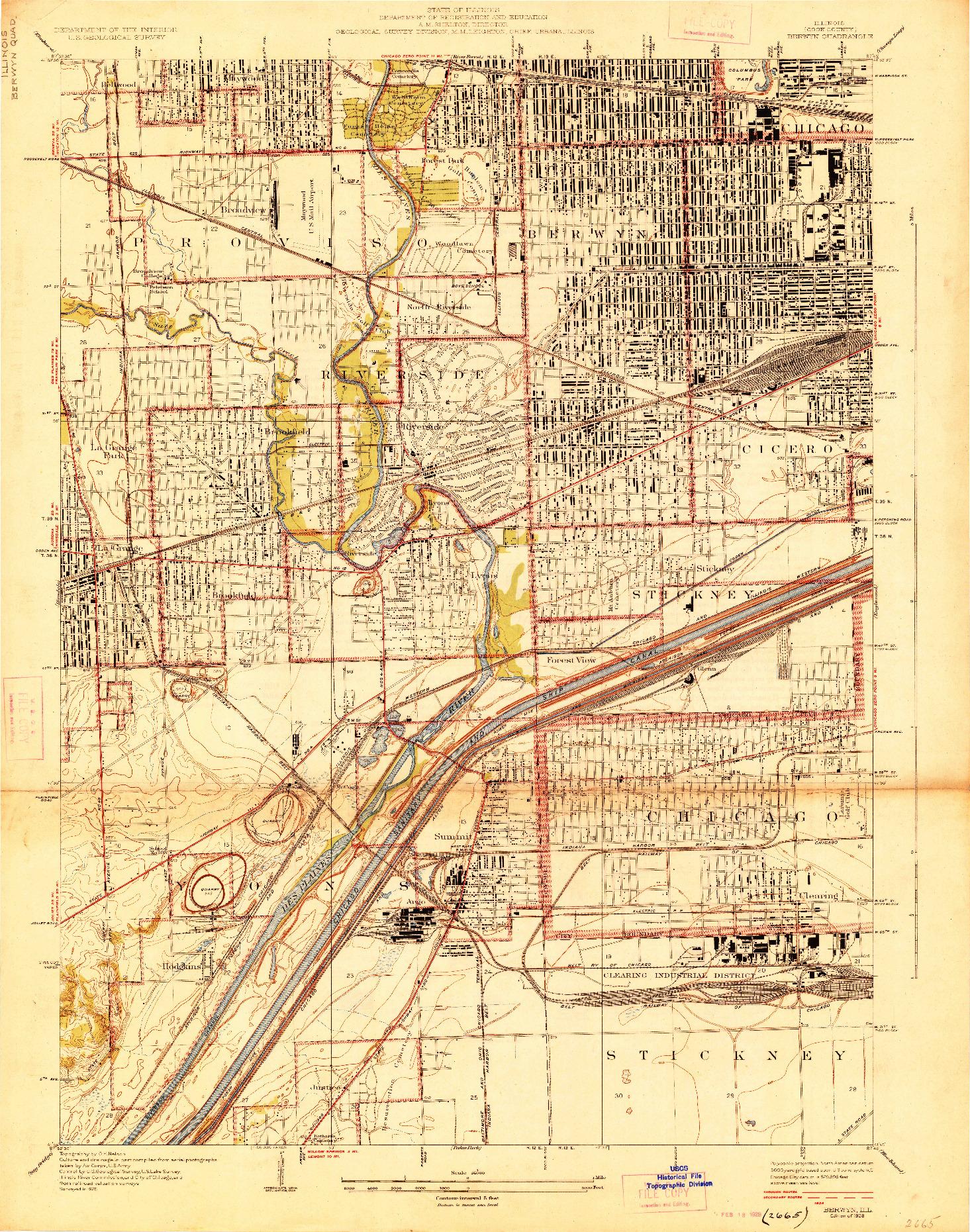 USGS 1:24000-SCALE QUADRANGLE FOR BERWYN, IL 1928