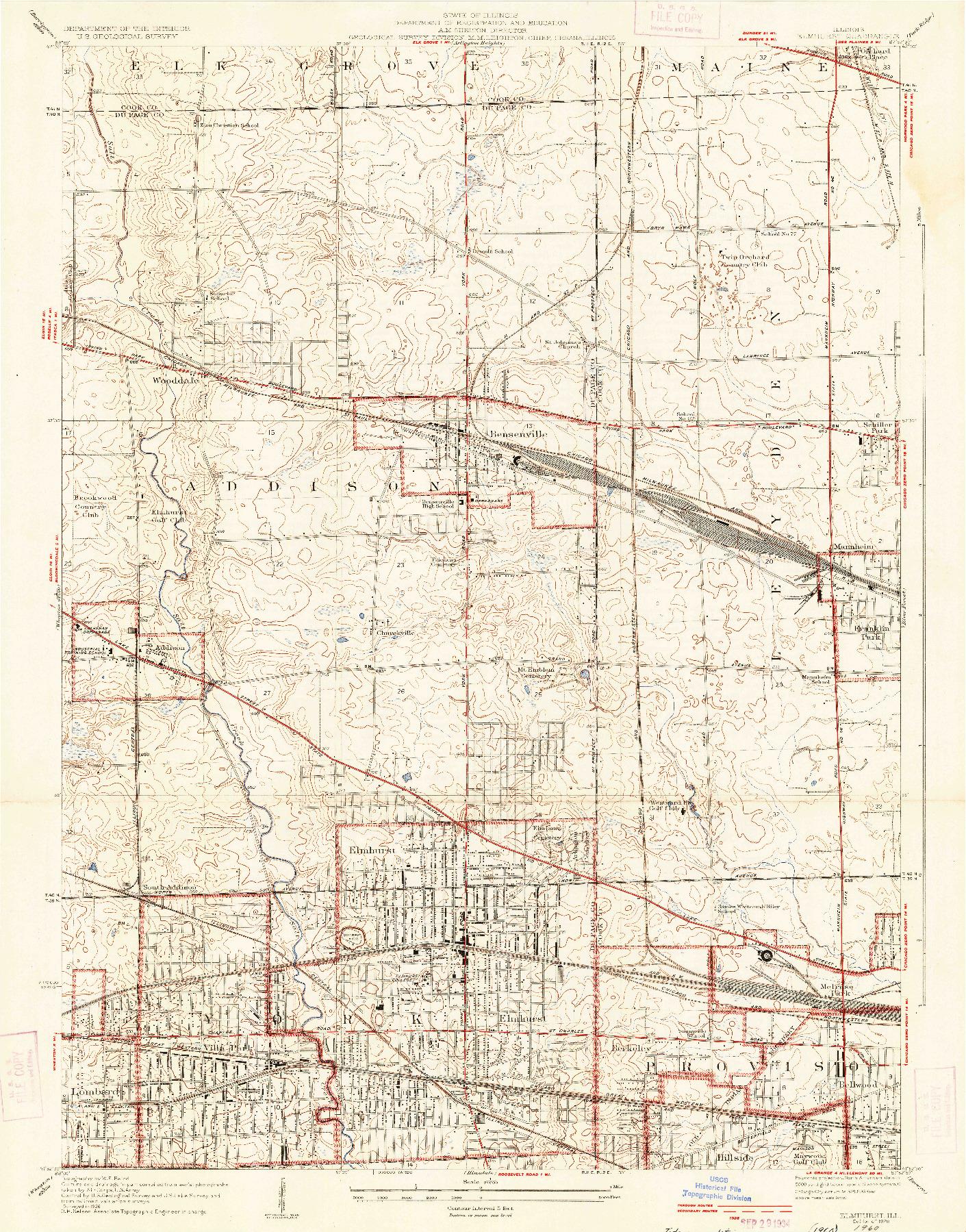 USGS 1:24000-SCALE QUADRANGLE FOR ELMHURST, IL 1928