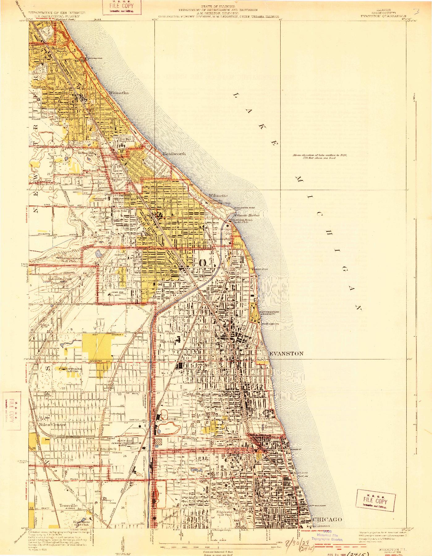 USGS 1:24000-SCALE QUADRANGLE FOR EVANSTON, IL 1928