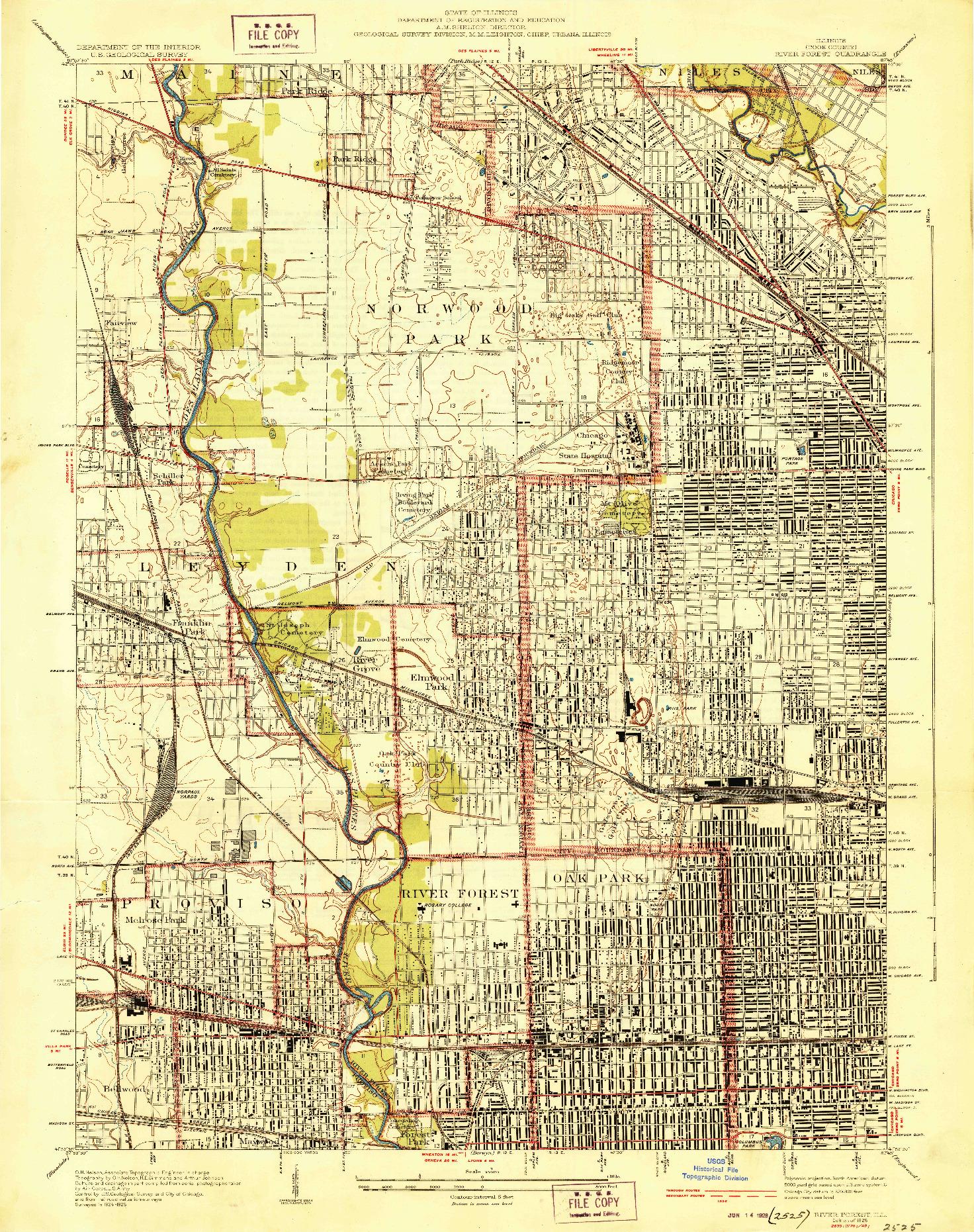 USGS 1:24000-SCALE QUADRANGLE FOR RIVER FOREST, IL 1928