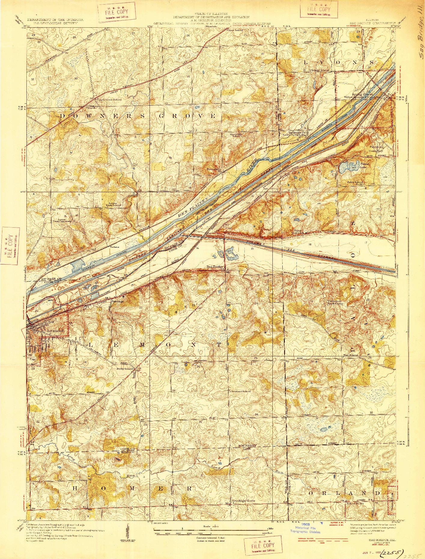 USGS 1:24000-SCALE QUADRANGLE FOR SAG BRIDGE, IL 1928