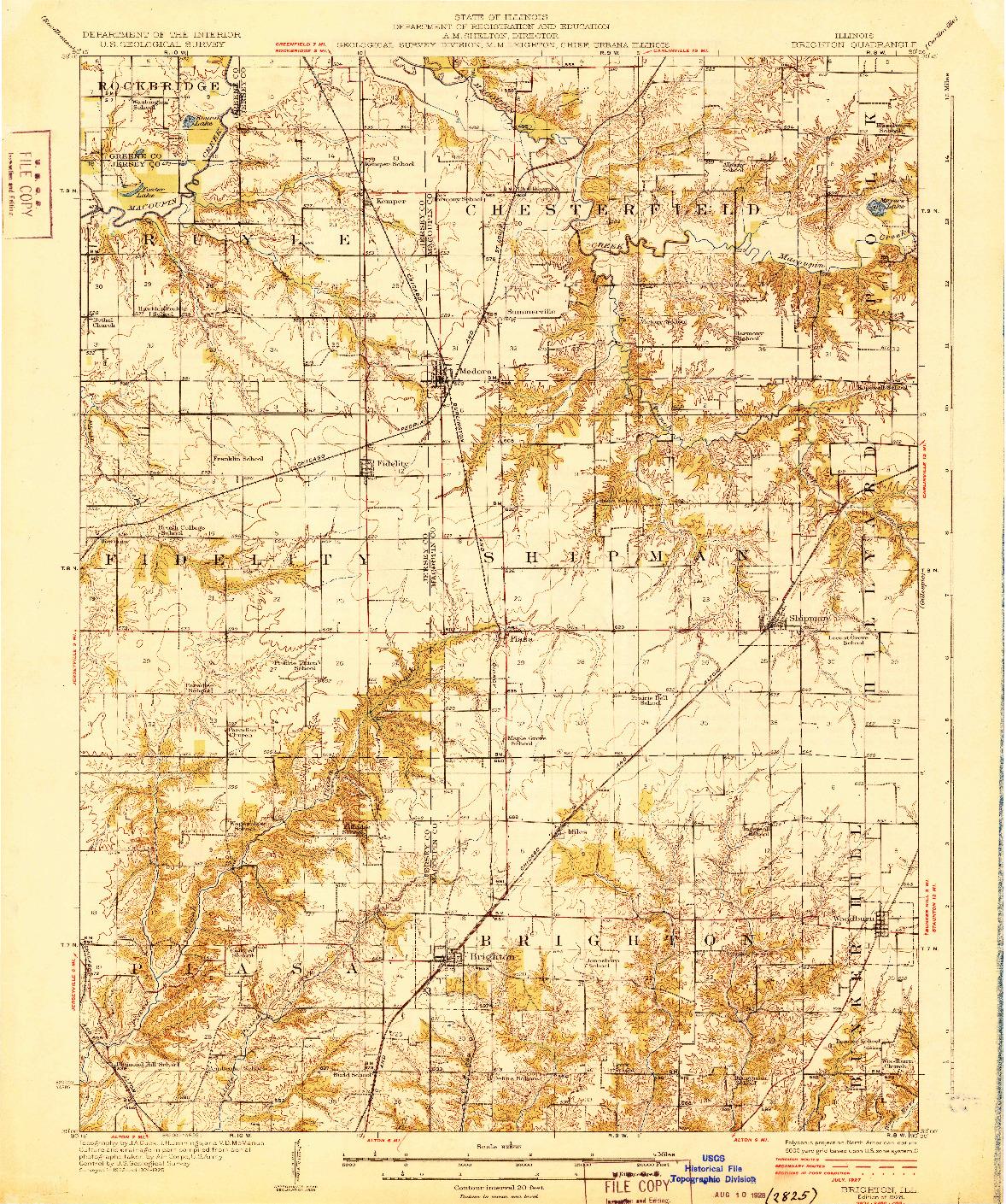 USGS 1:62500-SCALE QUADRANGLE FOR BRIGHTON, IL 1928