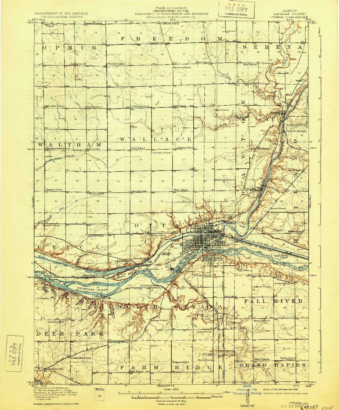 USGS 1:62500-SCALE QUADRANGLE FOR OTTAWA, IL 1915