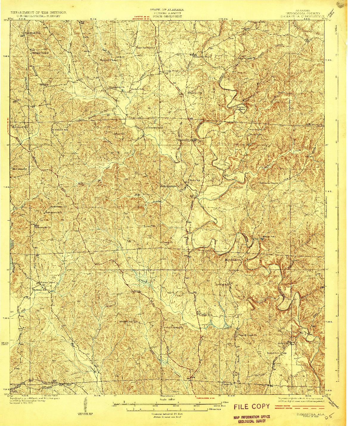 USGS 1:62500-SCALE QUADRANGLE FOR SAMANTHA, AL 1928