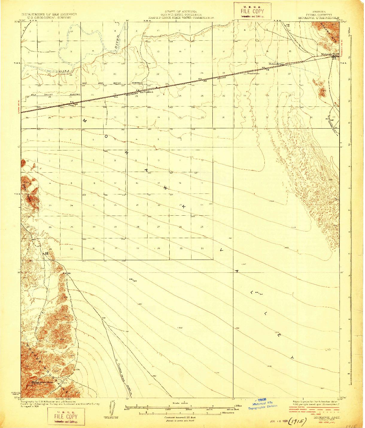 USGS 1:62500-SCALE QUADRANGLE FOR MOHAWK, AZ 1928