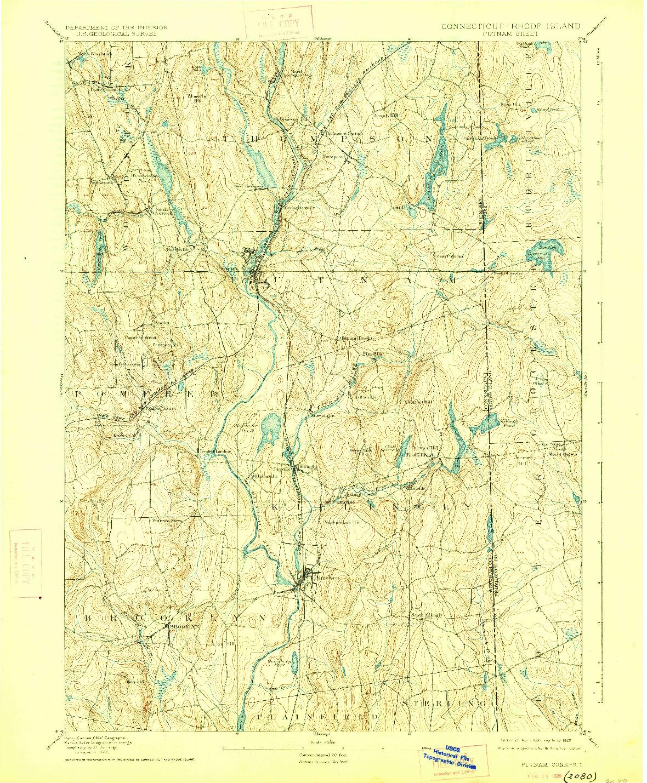 USGS 1:62500-SCALE QUADRANGLE FOR PUTNAM, CT 1893