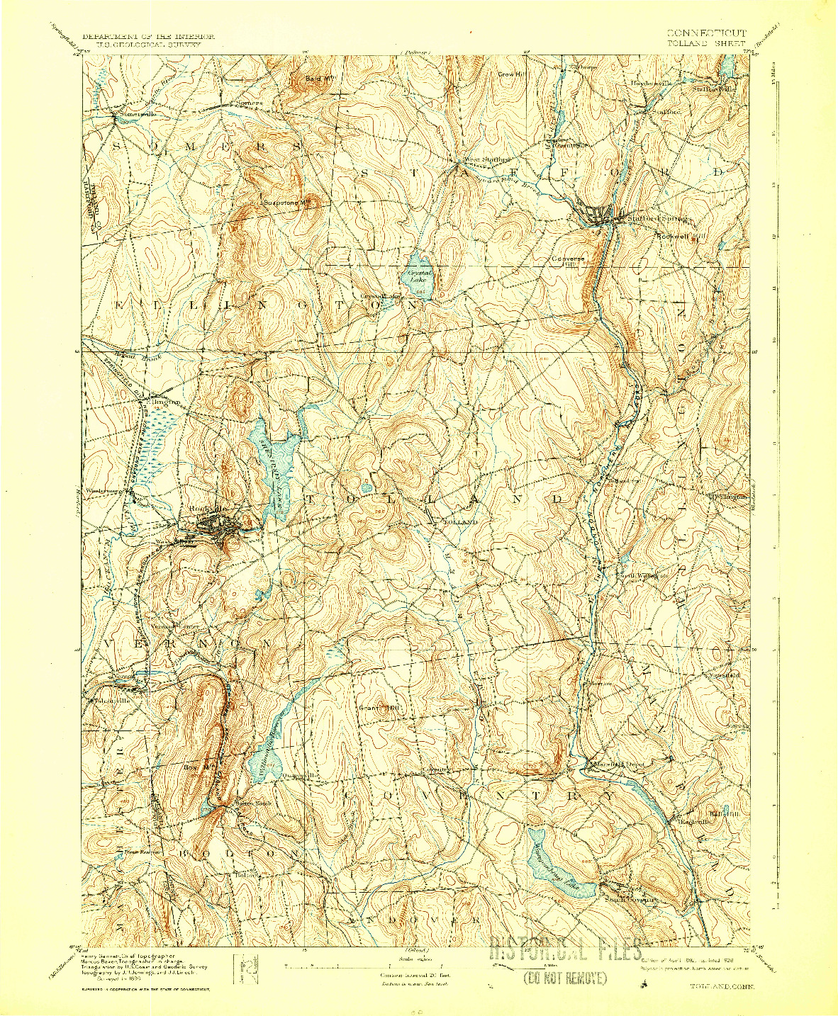 USGS 1:62500-SCALE QUADRANGLE FOR TOLLAND, CT 1892