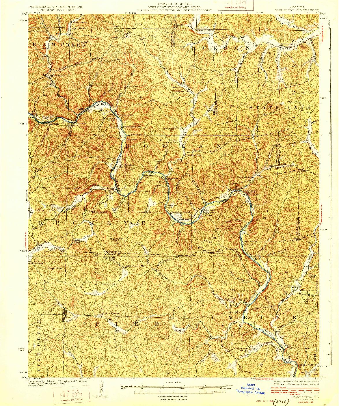 USGS 1:62500-SCALE QUADRANGLE FOR CARDAREVA, MO 1928