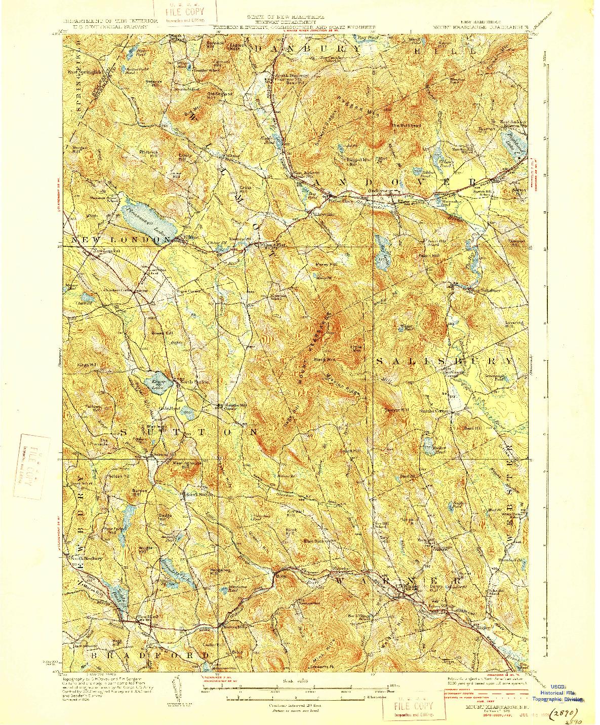 USGS 1:62500-SCALE QUADRANGLE FOR MOUNT KEARSARGE, NH 1928