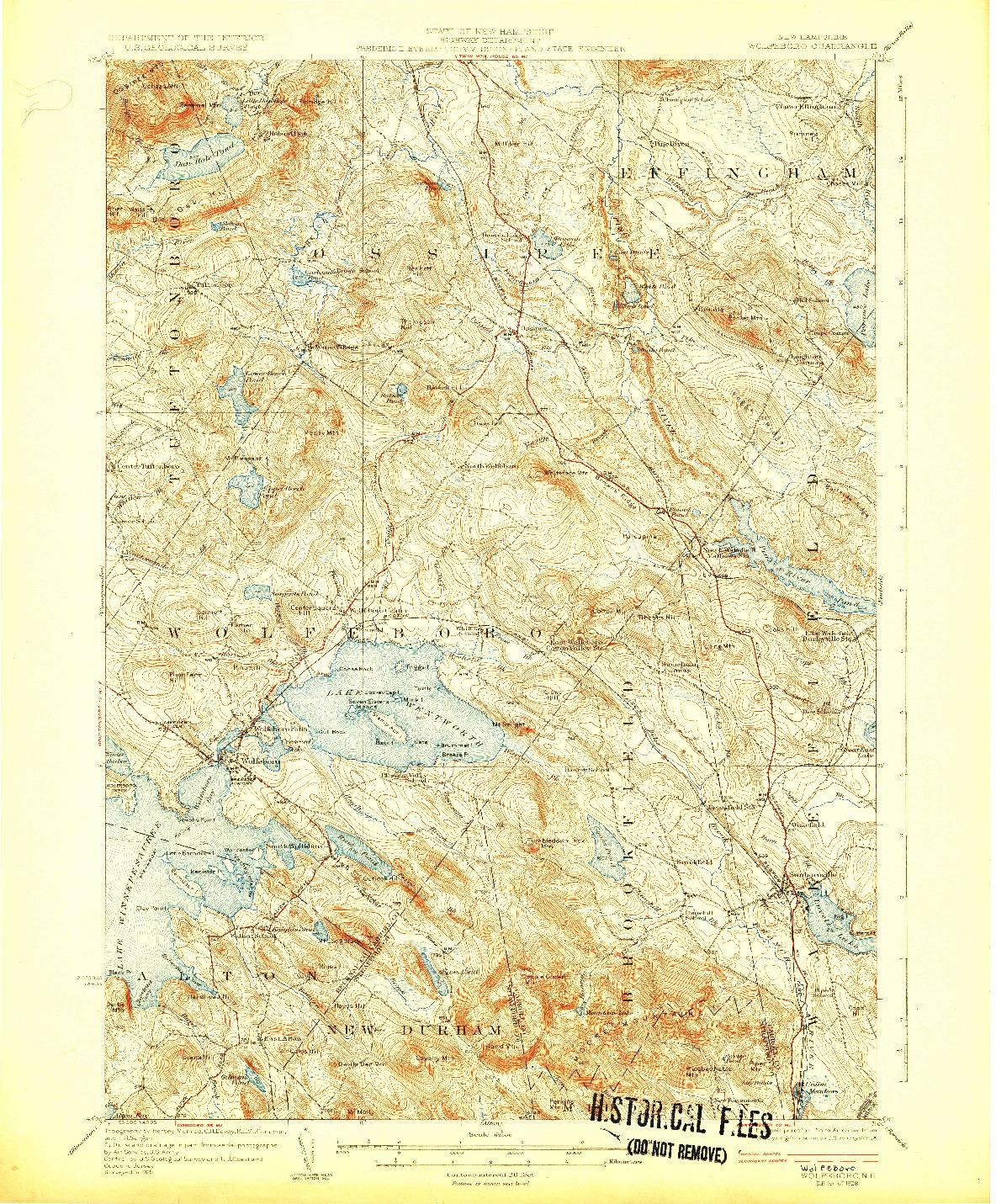 USGS 1:62500-SCALE QUADRANGLE FOR WOLFEBORO, NH 1928
