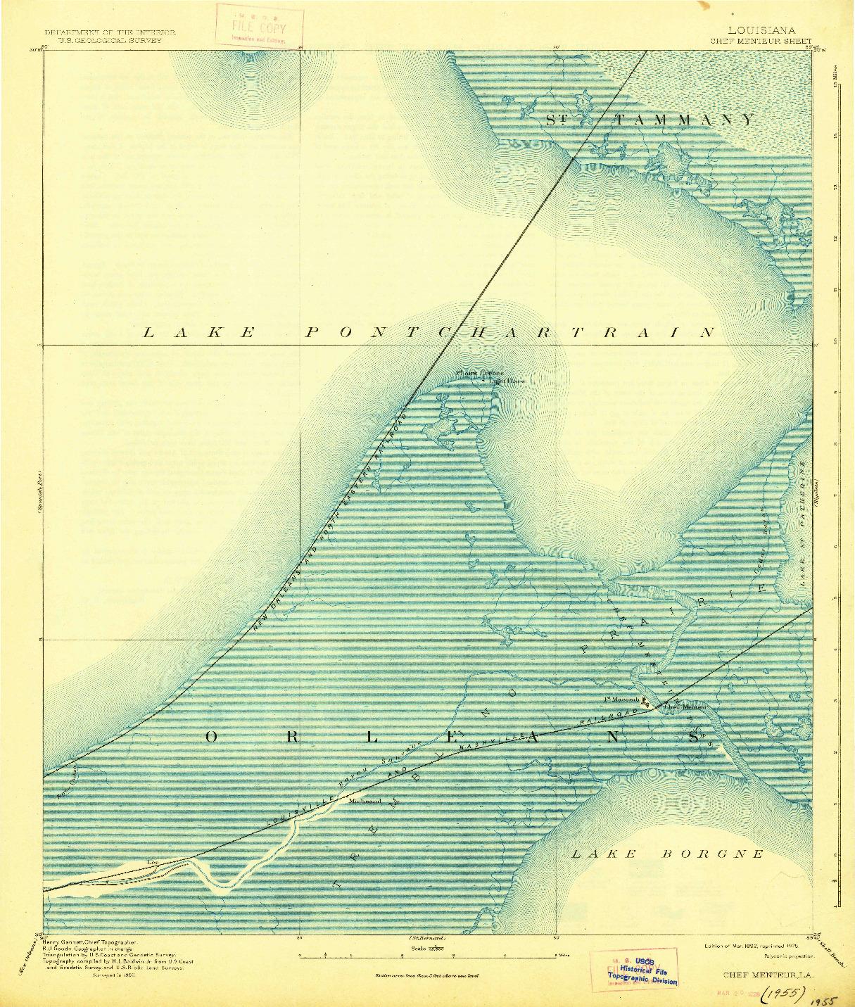 USGS 1:62500-SCALE QUADRANGLE FOR CHEF MENTEUR, LA 1892