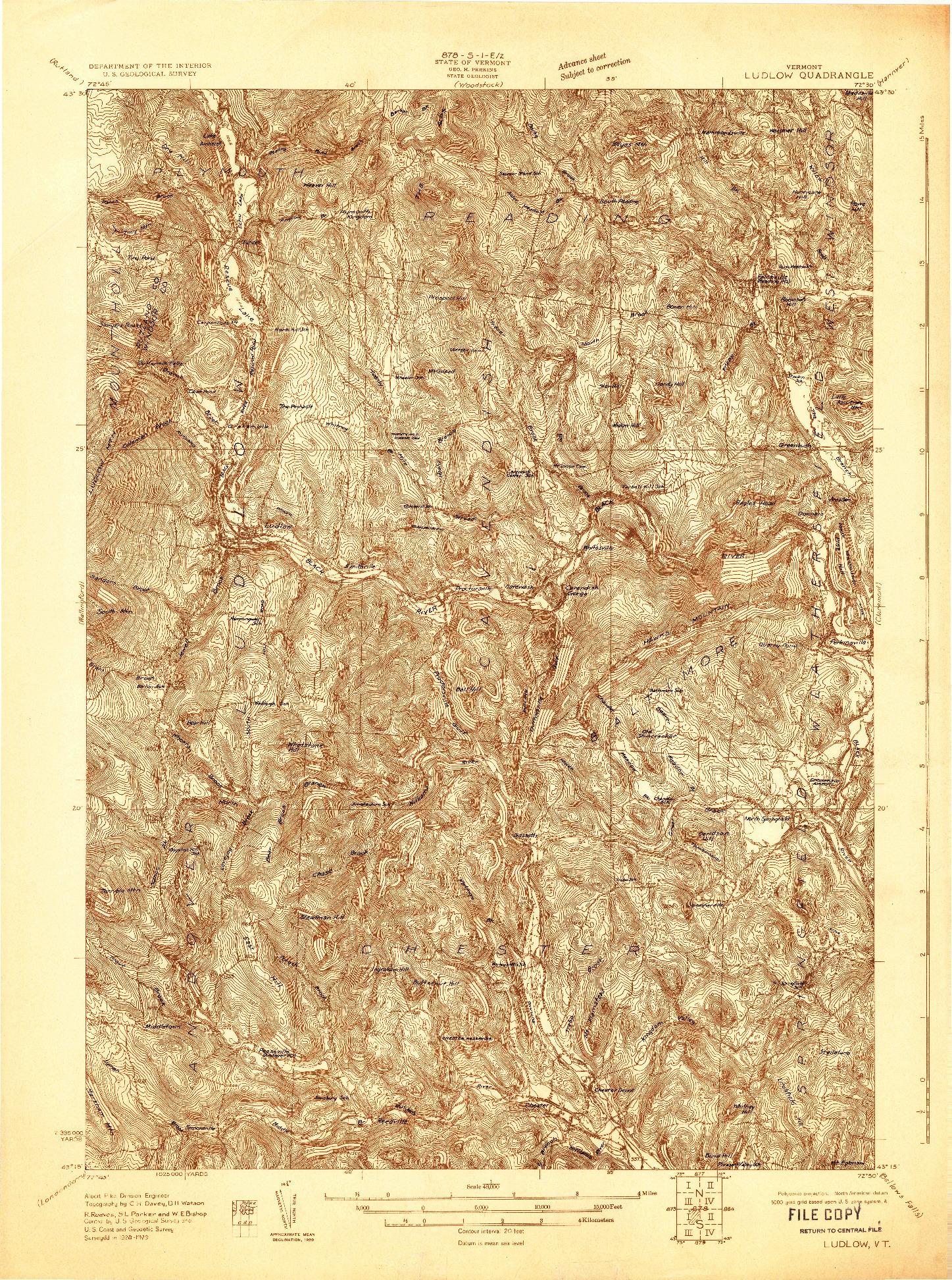 USGS 1:48000-SCALE QUADRANGLE FOR LUDLOW, VT 1928