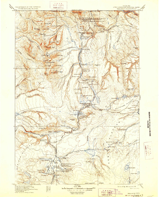 USGS 1:125000-SCALE QUADRANGLE FOR GALLATIN, WY 1911