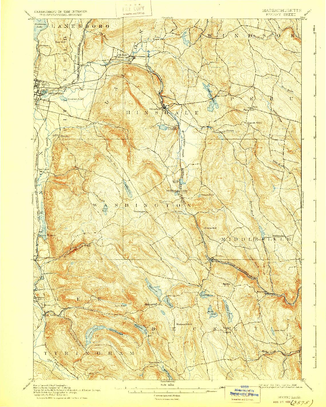 USGS 1:62500-SCALE QUADRANGLE FOR BECKET, MA 1897