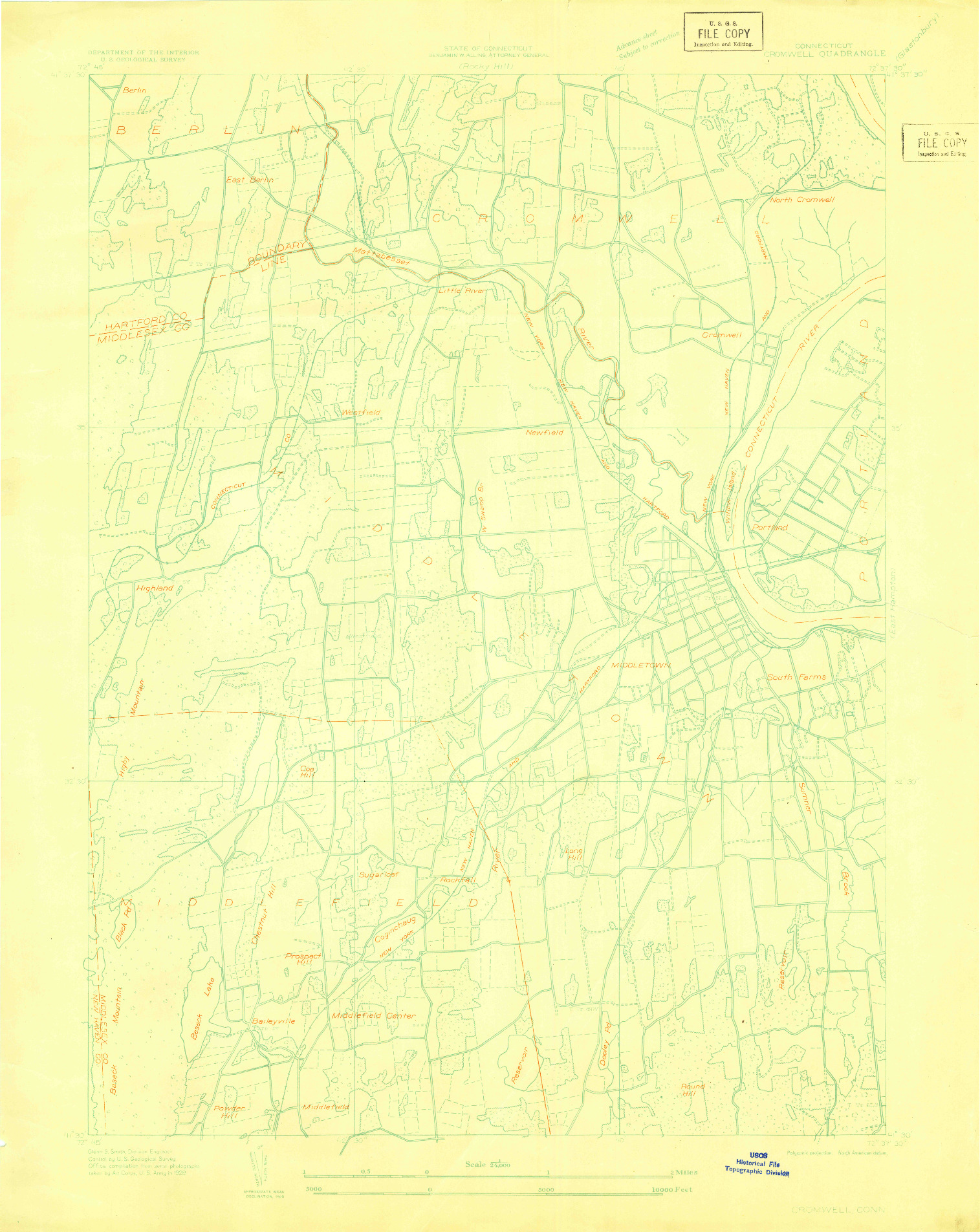 USGS 1:24000-SCALE QUADRANGLE FOR CROMWELL, CT 1928