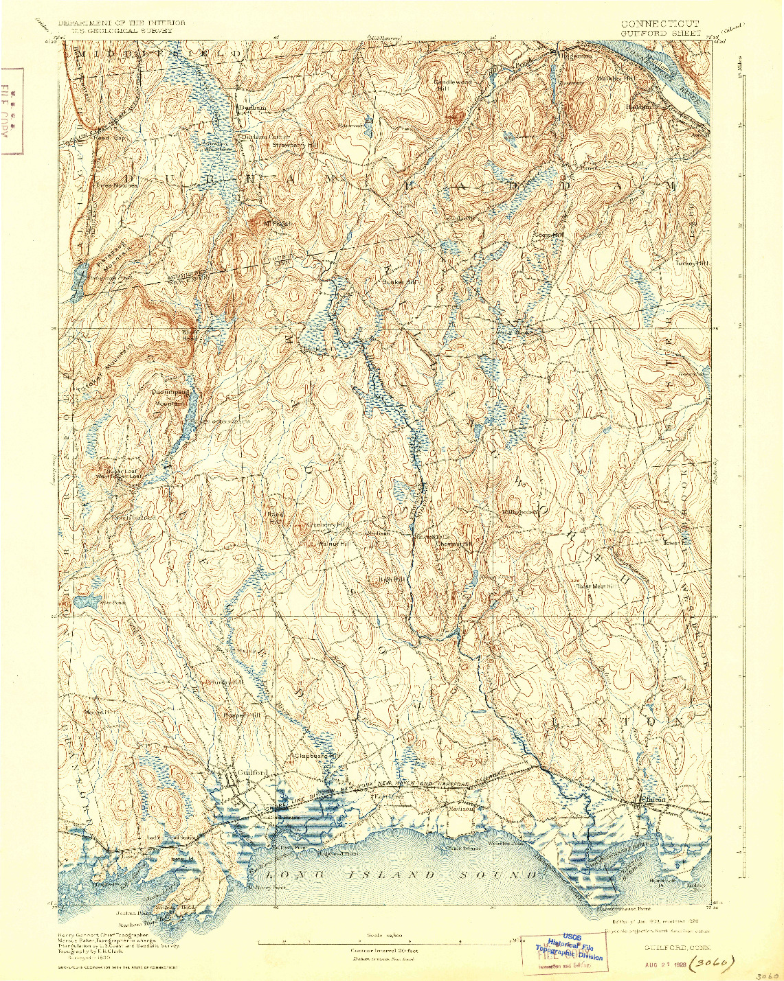 USGS 1:62500-SCALE QUADRANGLE FOR GUILFORD, CT 1893