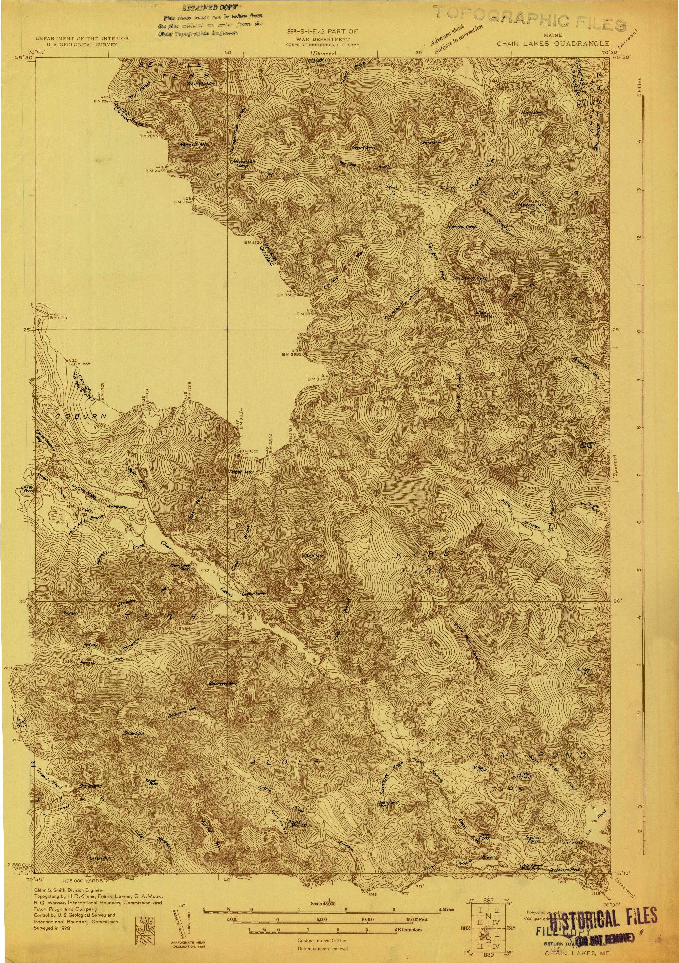 USGS 1:48000-SCALE QUADRANGLE FOR CHAIN LAKES, ME 1928