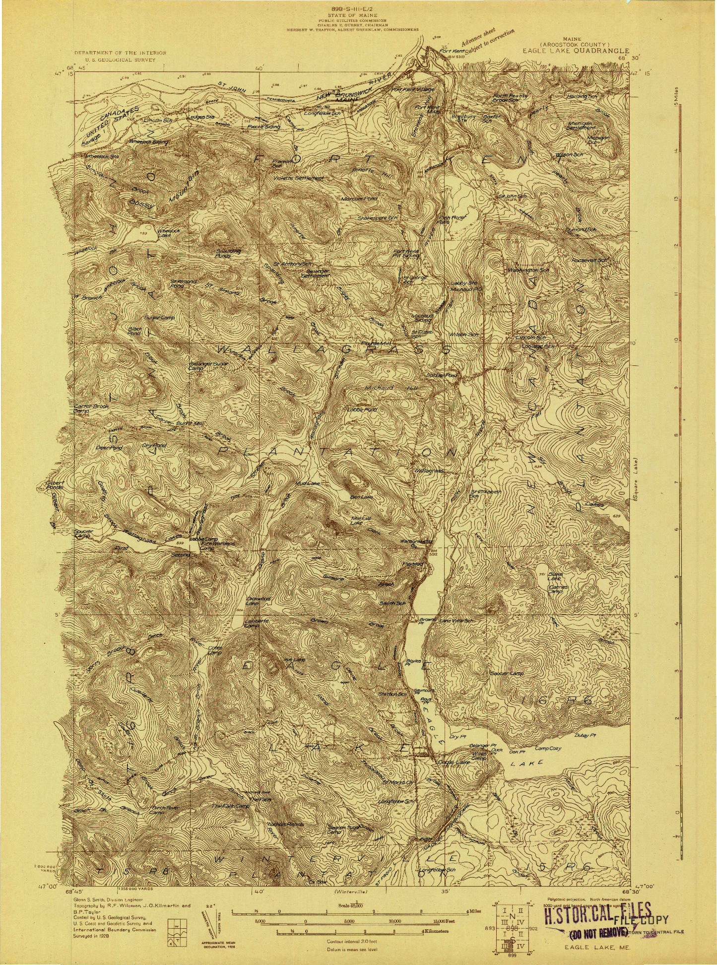 USGS 1:48000-SCALE QUADRANGLE FOR EAGLE LAKE, ME 1928