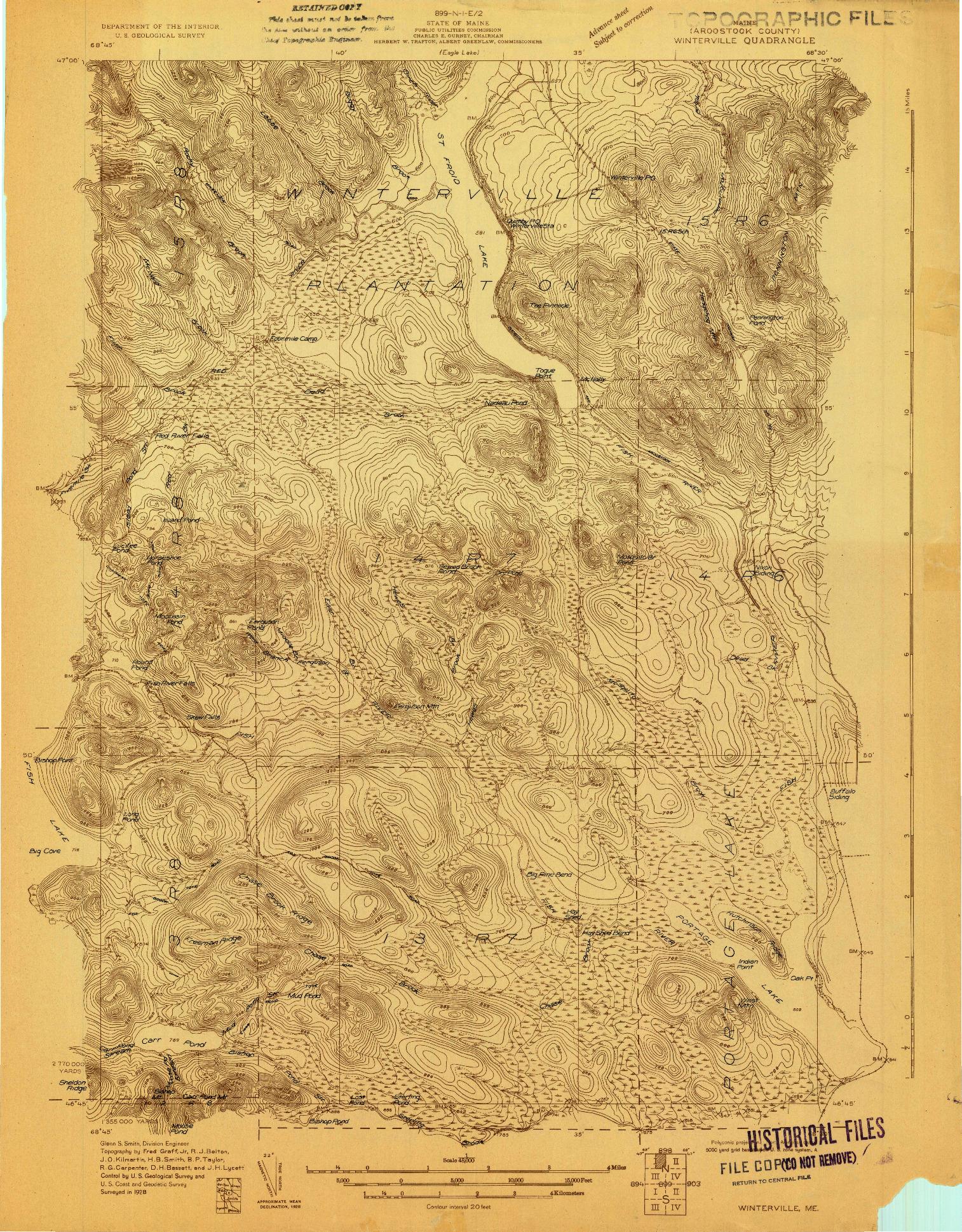 USGS 1:48000-SCALE QUADRANGLE FOR WINTERVILLE, ME 1928