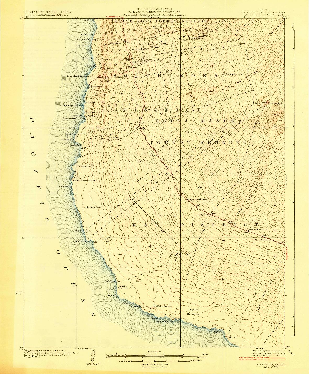 USGS 1:62500-SCALE QUADRANGLE FOR HOOPULOA, HI 1928
