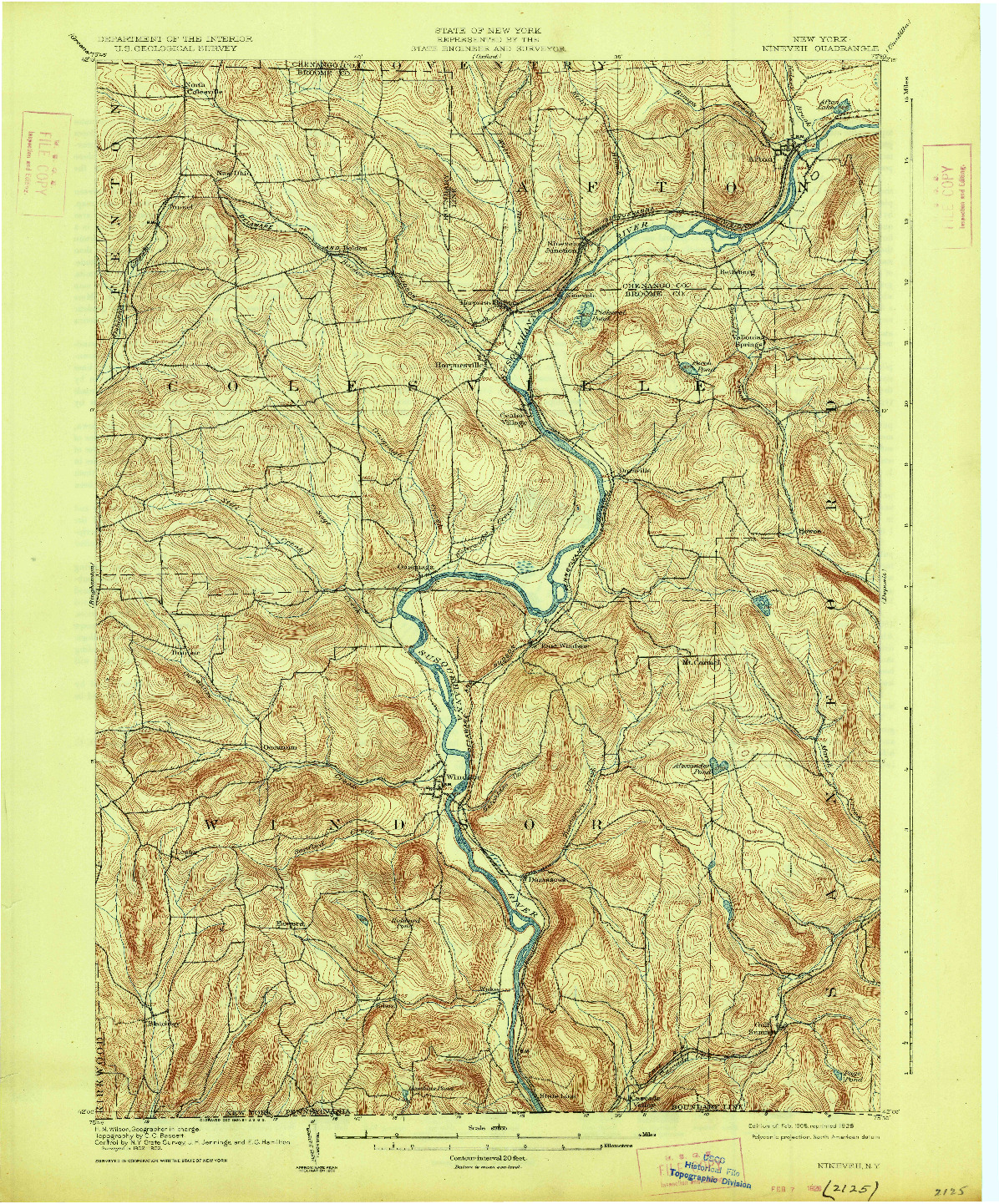 USGS 1:62500-SCALE QUADRANGLE FOR NINEVEH, NY 1905