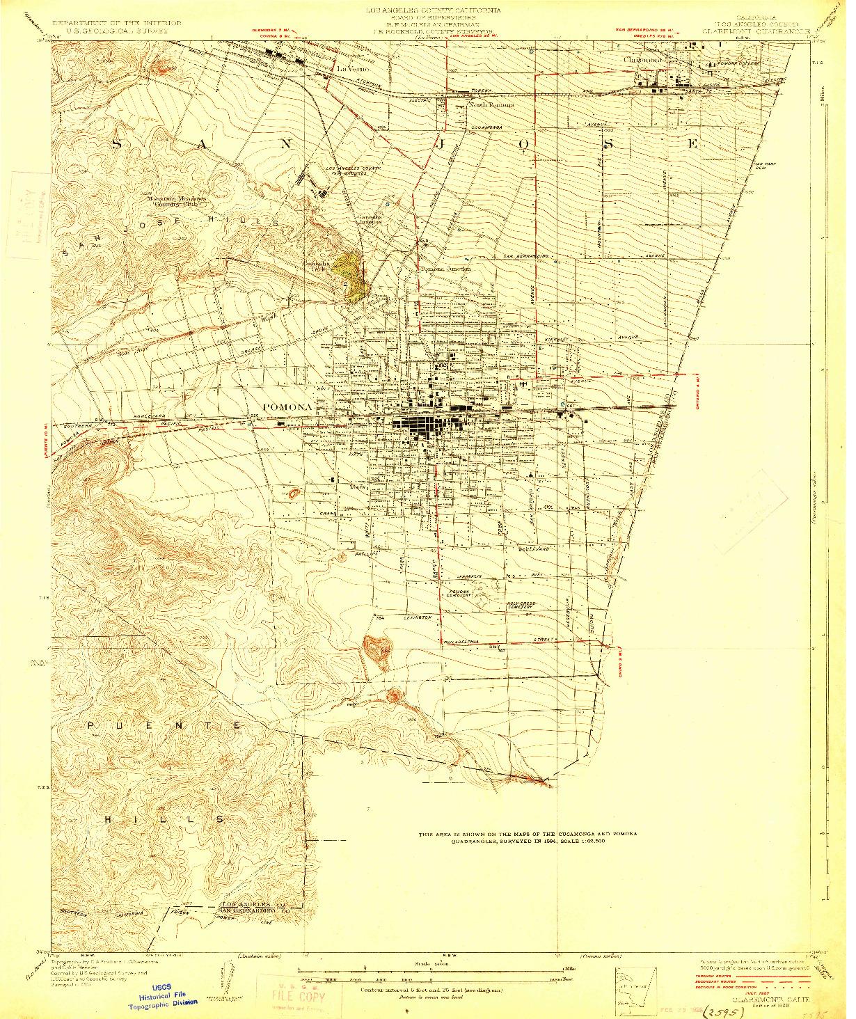 USGS 1:24000-SCALE QUADRANGLE FOR CLAREMONT, CA 1928