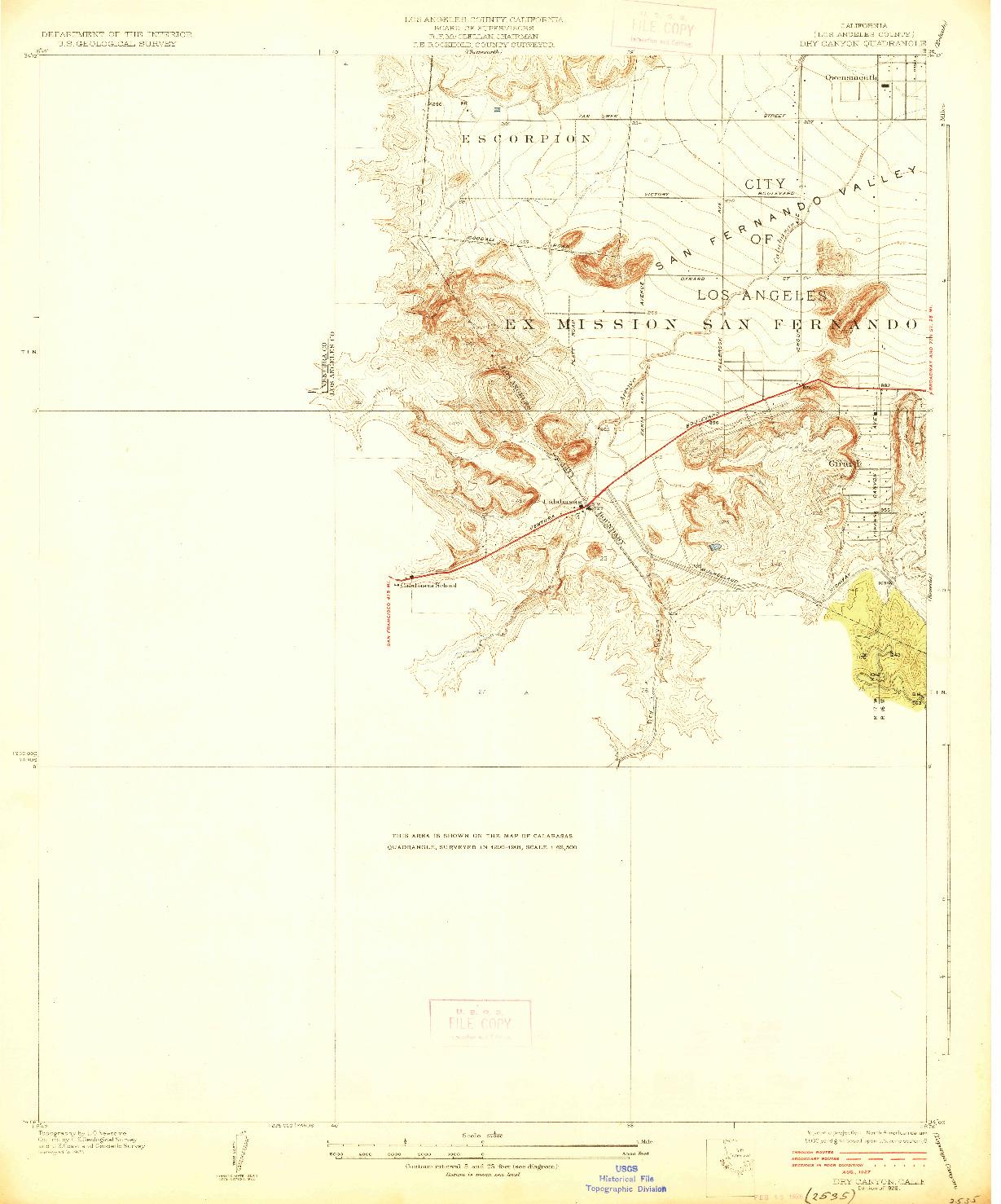 USGS 1:24000-SCALE QUADRANGLE FOR DRY CANYON, CA 1928