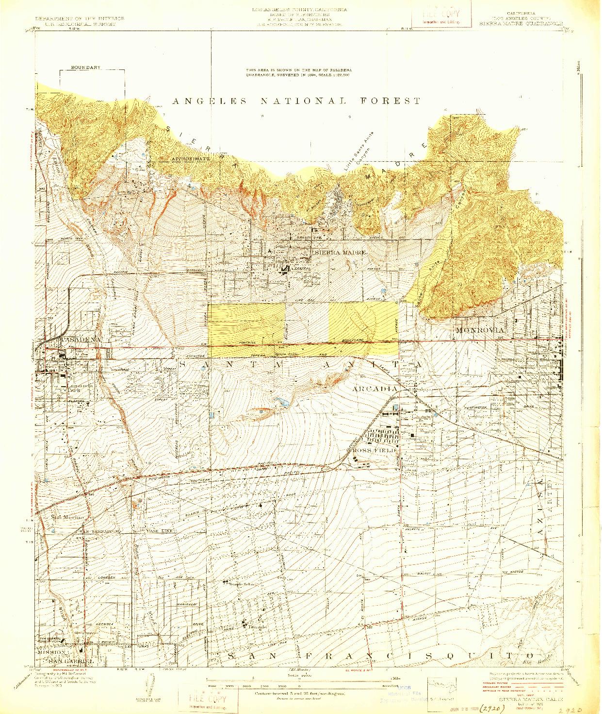 USGS 1:24000-SCALE QUADRANGLE FOR SIERRA MADRE, CA 1928