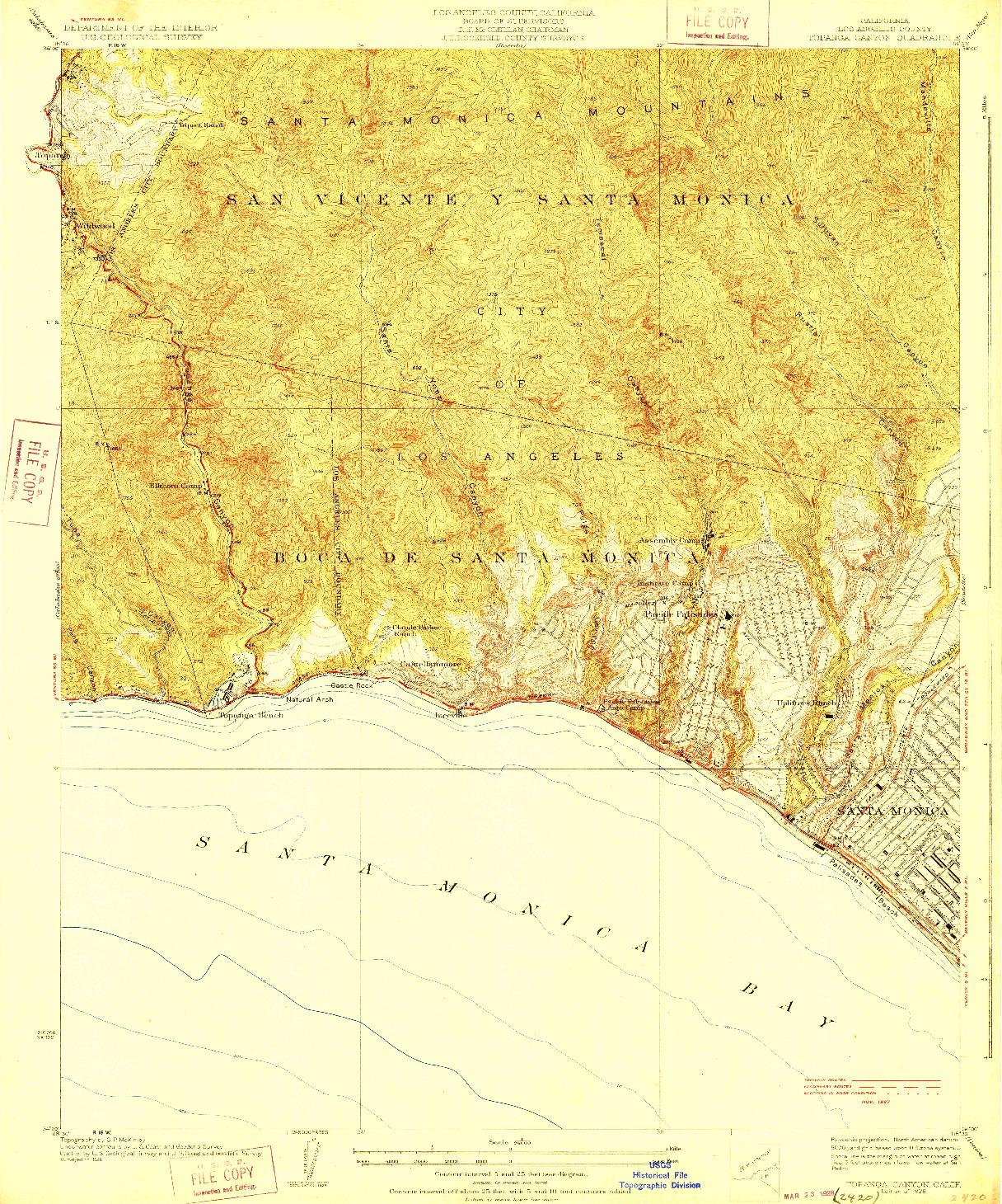 USGS 1:24000-SCALE QUADRANGLE FOR TOPANGA CANYON, CA 1928