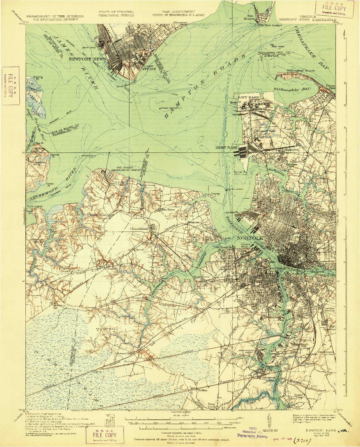 USGS 1:62500-SCALE QUADRANGLE FOR NEWPORT NEWS, VA 1921
