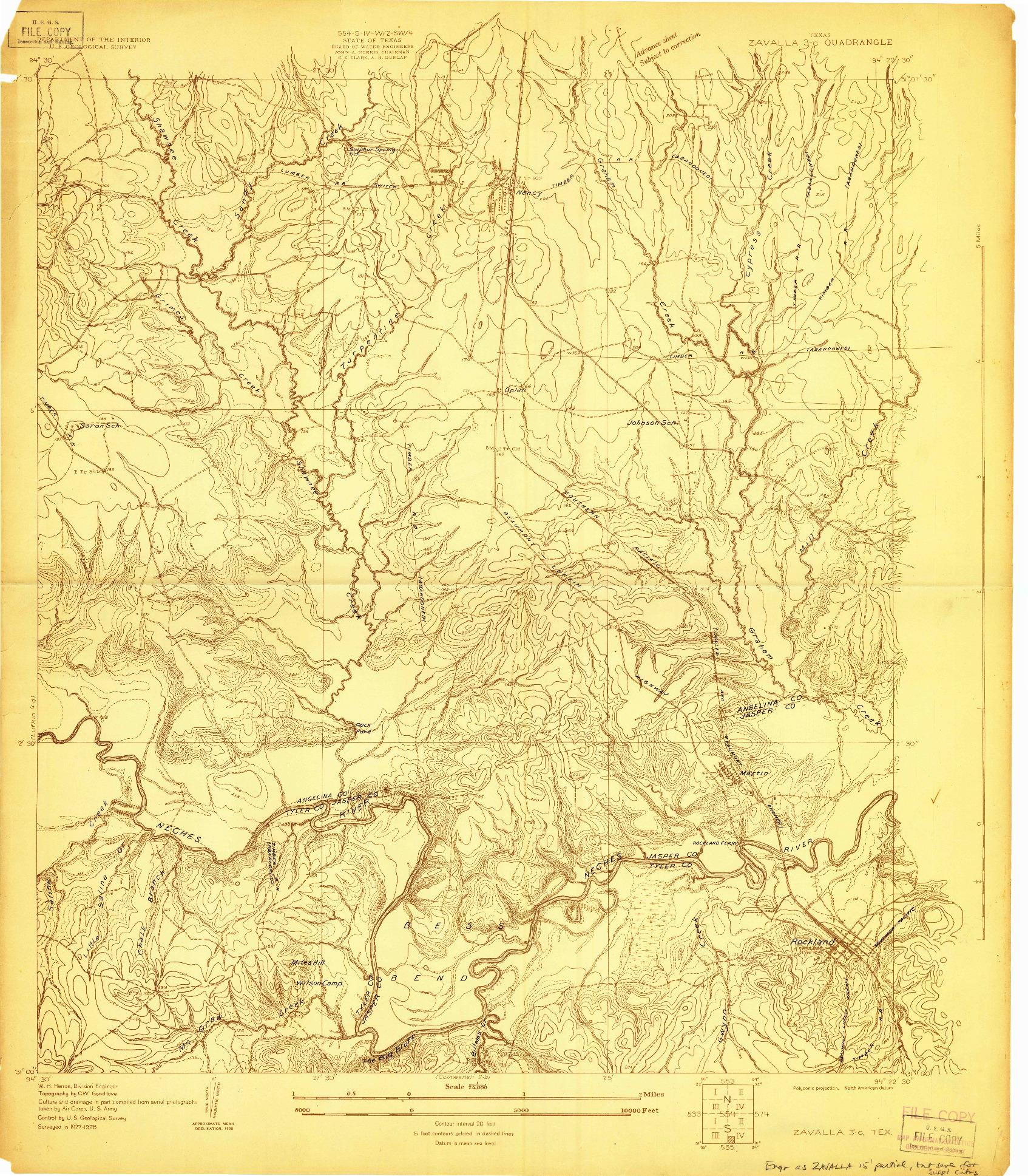 USGS 1:24000-SCALE QUADRANGLE FOR ZAVALLA 3-C, TX 1928
