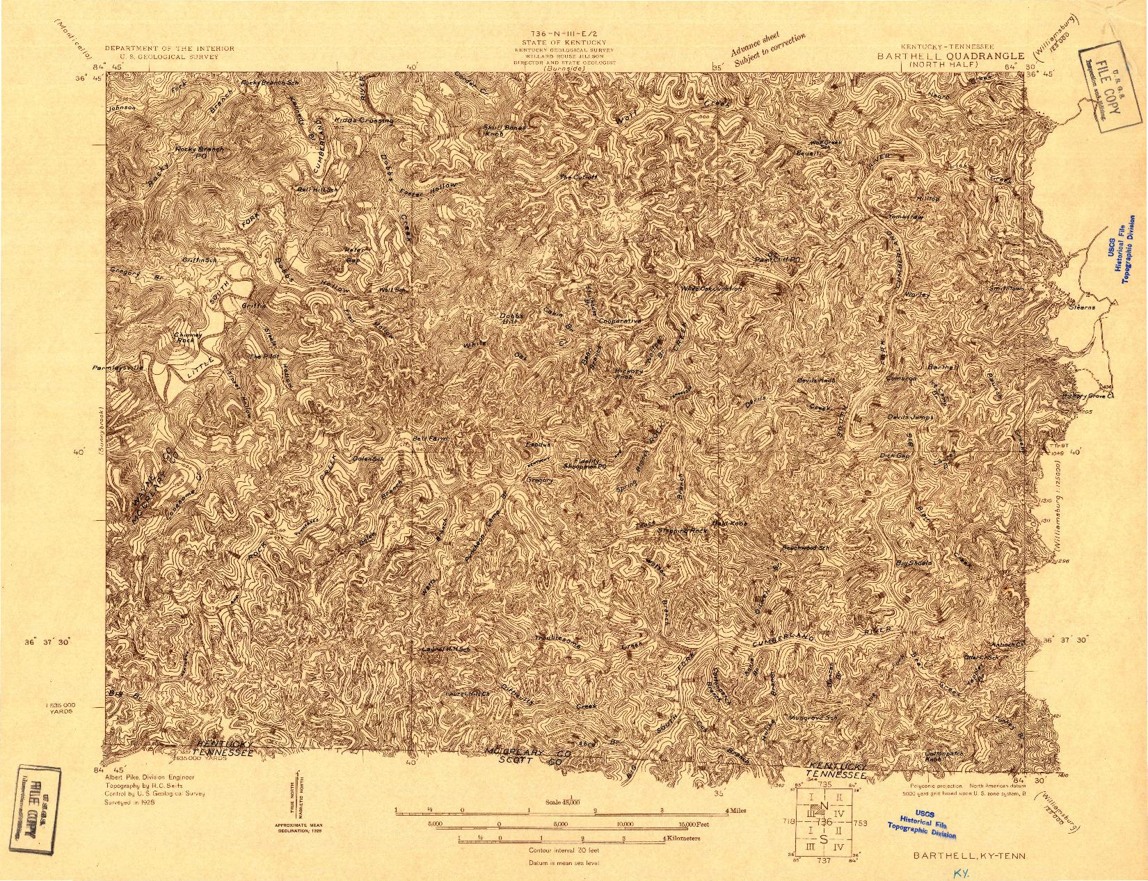 USGS 1:48000-SCALE QUADRANGLE FOR BARTHELL, KY 1928