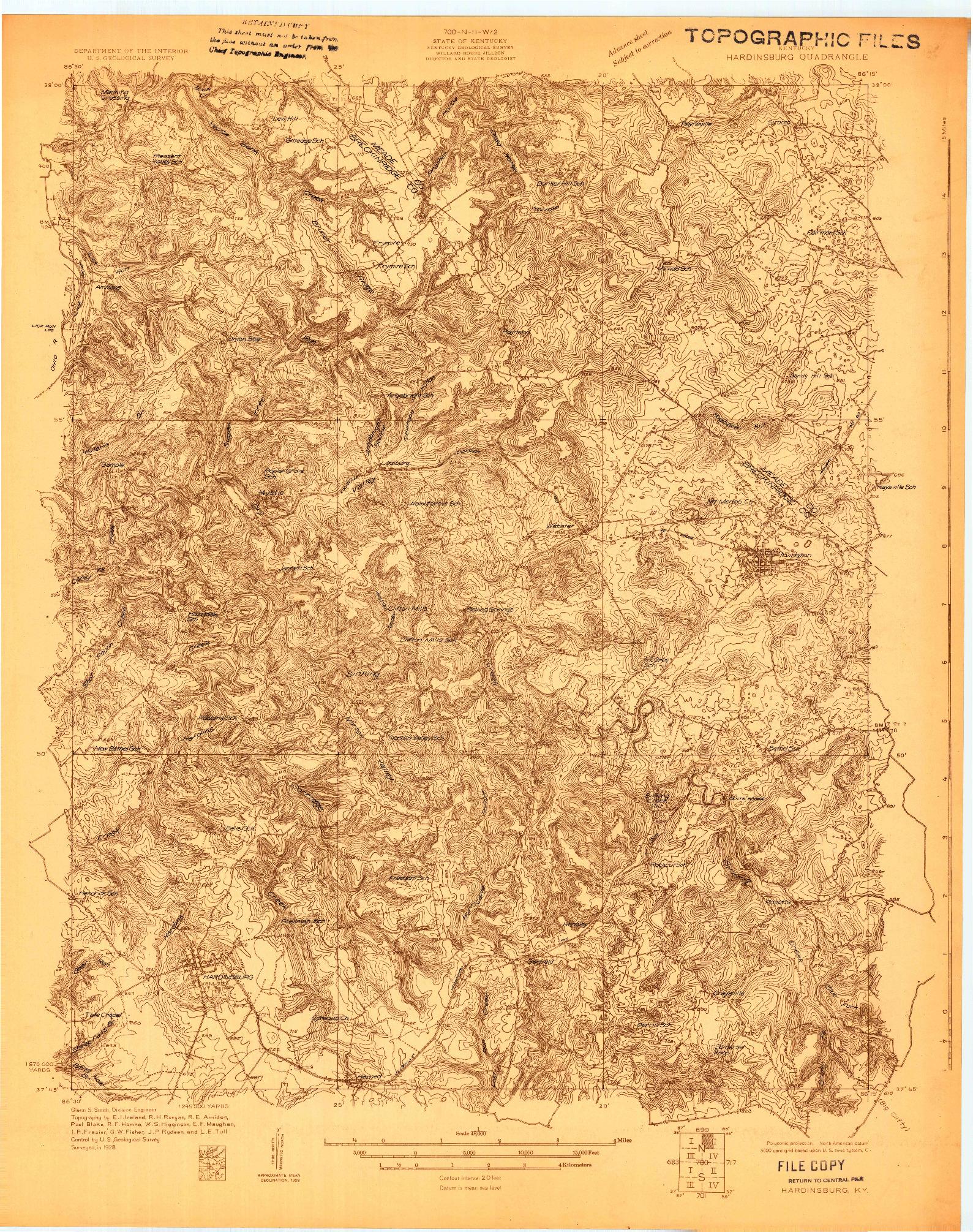 USGS 1:48000-SCALE QUADRANGLE FOR HARDINSBURG, KY 1928