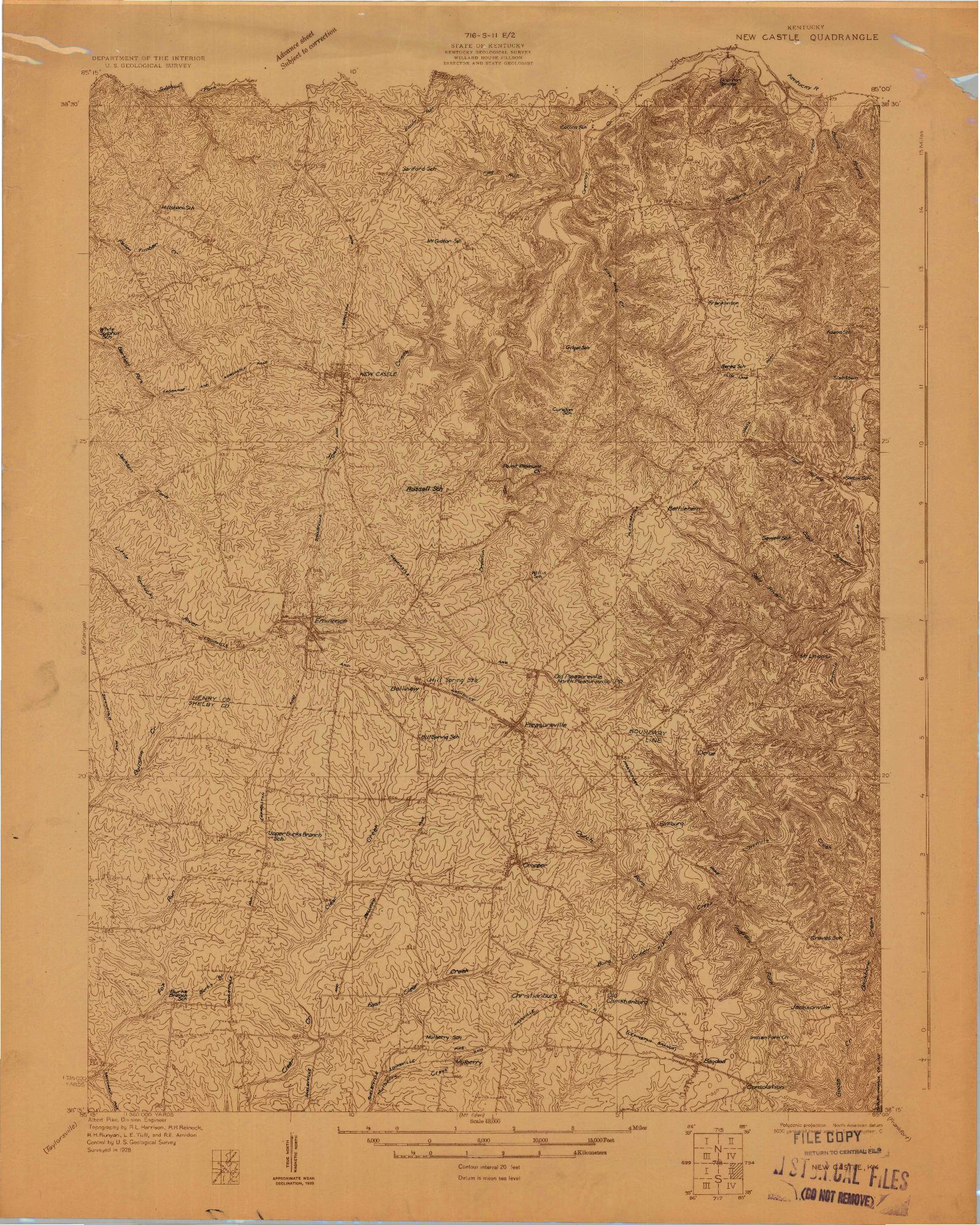 USGS 1:48000-SCALE QUADRANGLE FOR NEW CASTLE, KY 1928