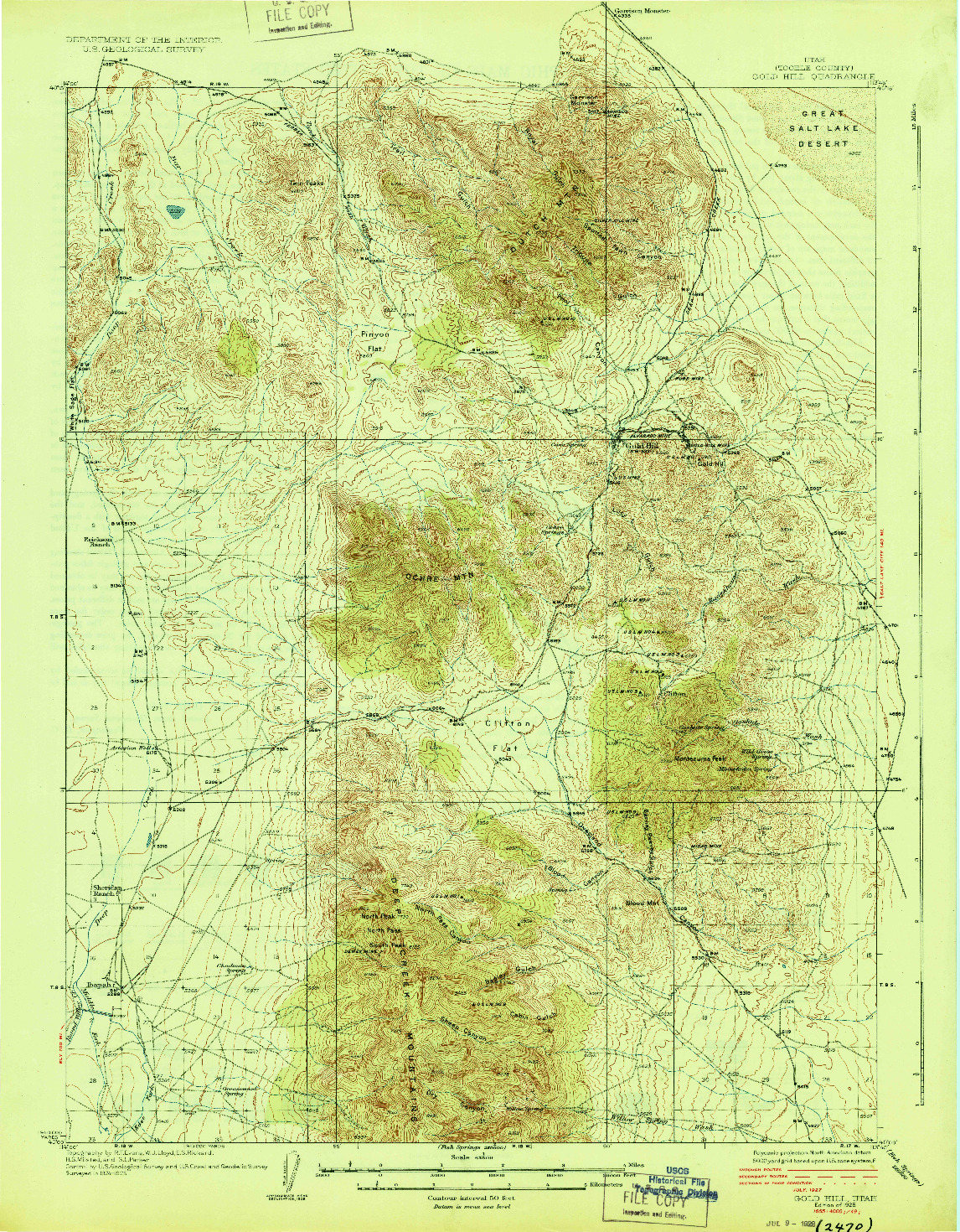 USGS 1:62500-SCALE QUADRANGLE FOR GOLD HILL, UT 1928