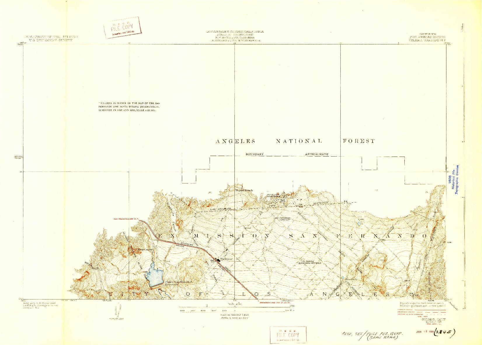 USGS 1:24000-SCALE QUADRANGLE FOR SYLMAR, CA 1928