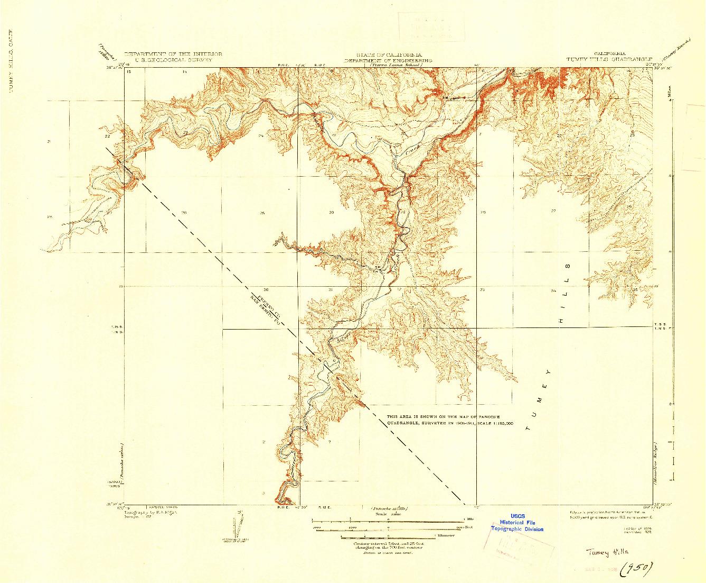 USGS 1:31680-SCALE QUADRANGLE FOR TUMEY HILLS, CA 1924