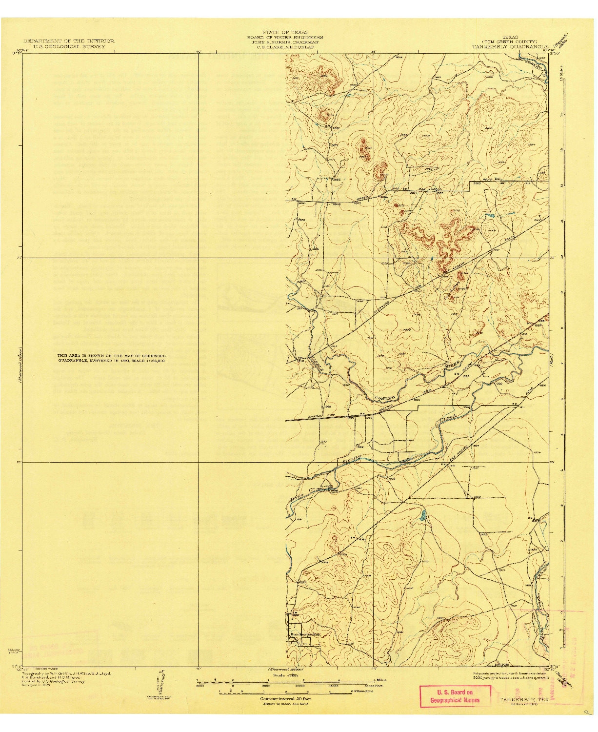 USGS 1:62500-SCALE QUADRANGLE FOR TANKERSLY, TX 1928
