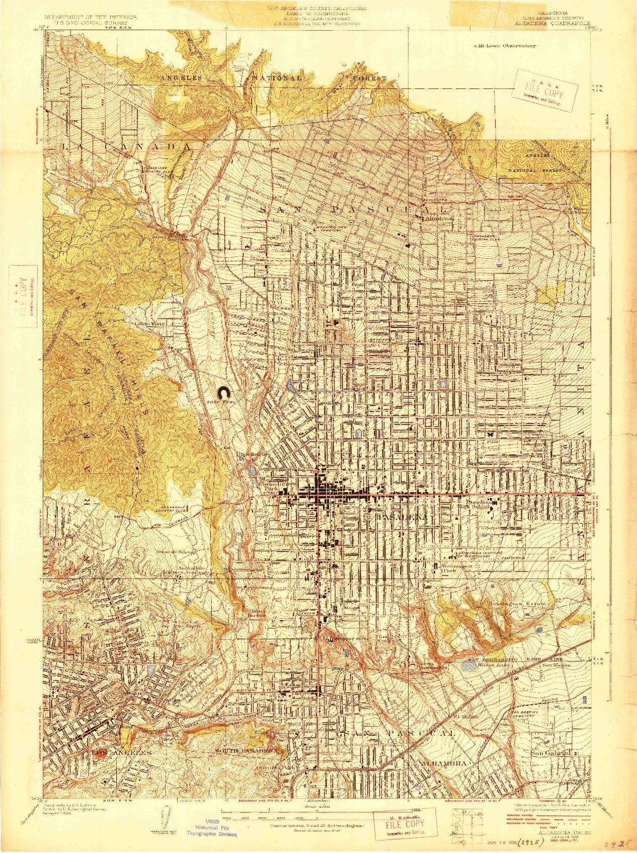 USGS 1:24000-SCALE QUADRANGLE FOR ALTADENA, CA 1928