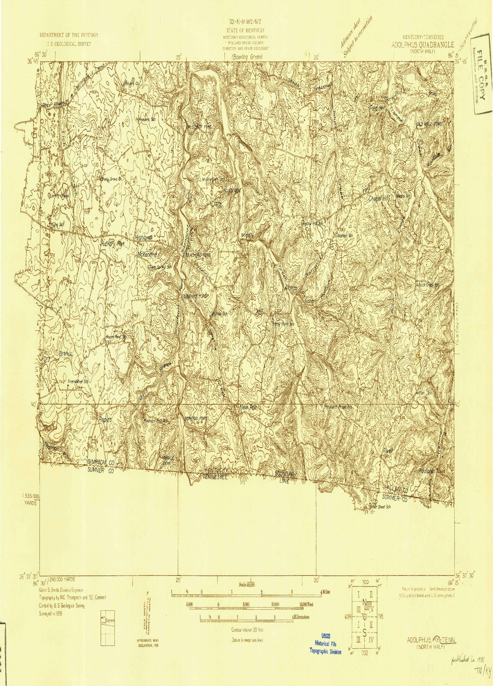 USGS 1:48000-SCALE QUADRANGLE FOR ADOLPHUS, KY 1928